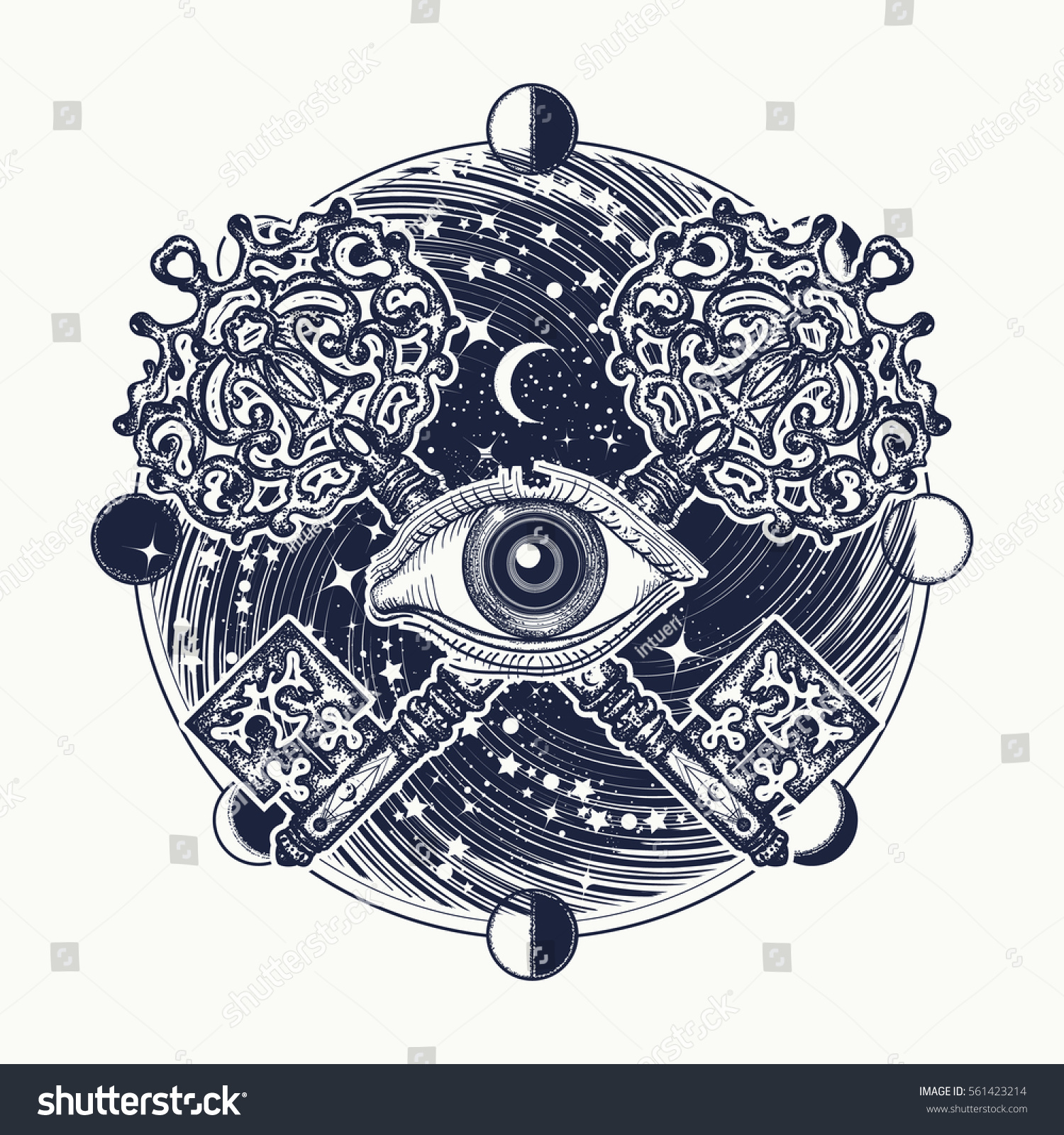 All Seeing Eye Tattoo Occult Art Stock Vector (Royalty Free) 561423214