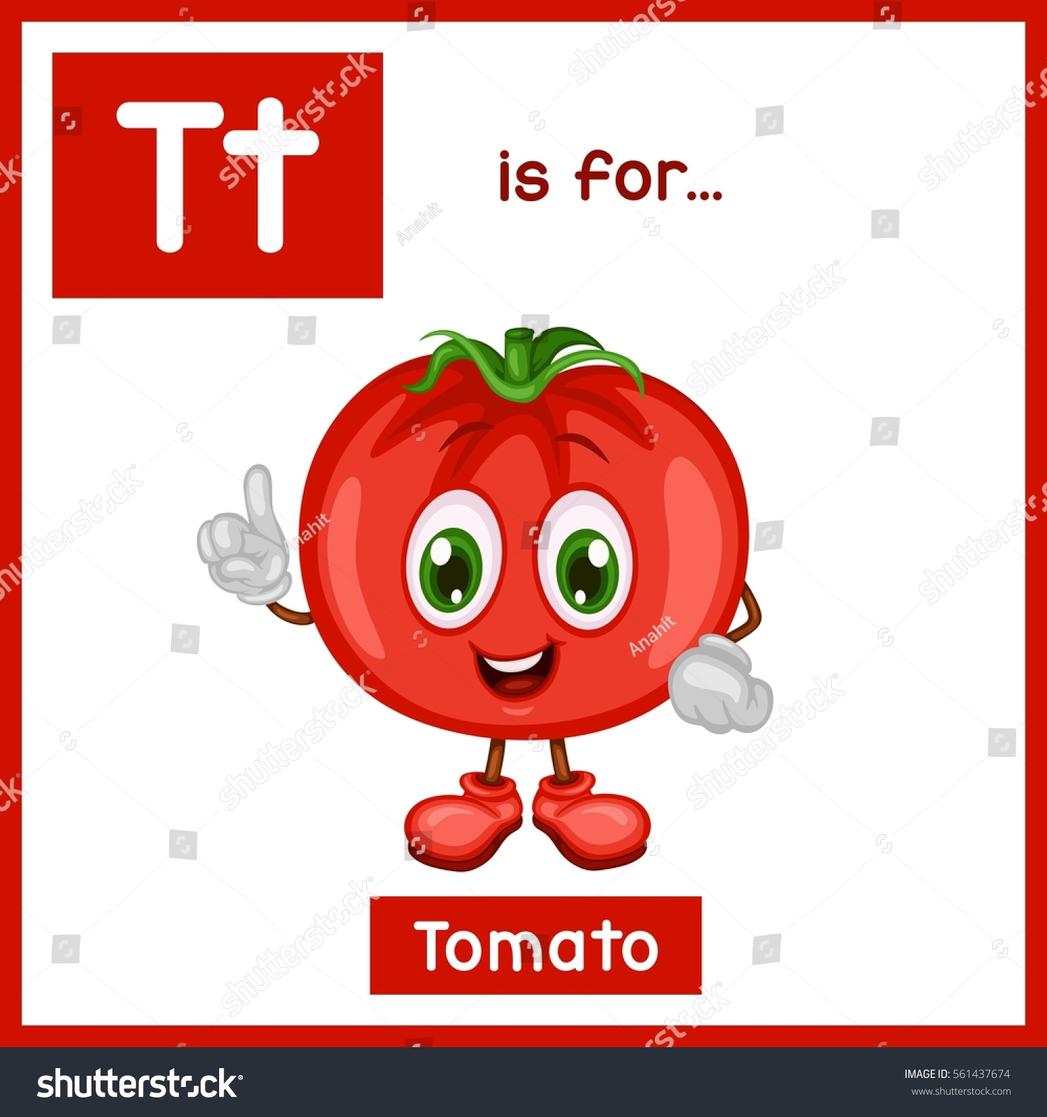 Cartoon Fruit Alphabet Flashcard T Is For Tomato