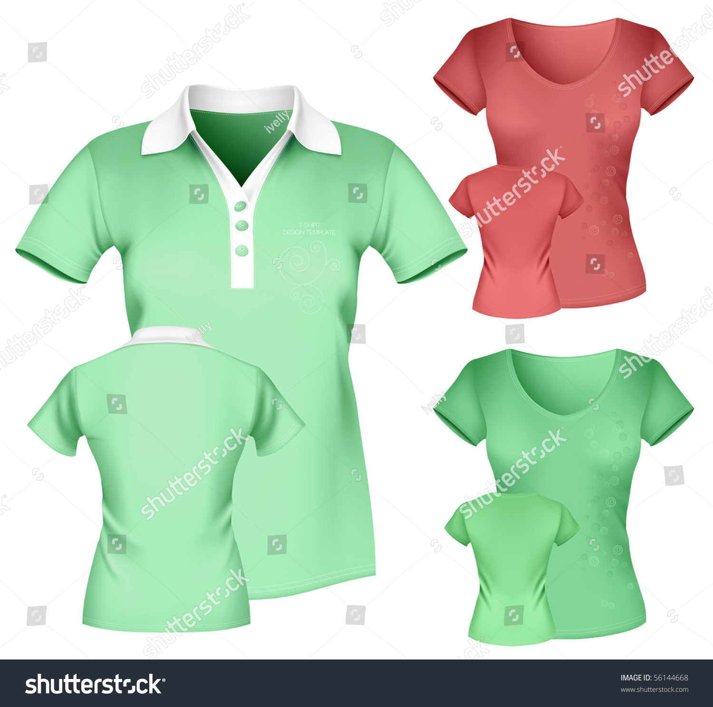Shirt design womens - Photo Realistic Vector Illustration Women S Polo Shirt And T Shirt Design Template