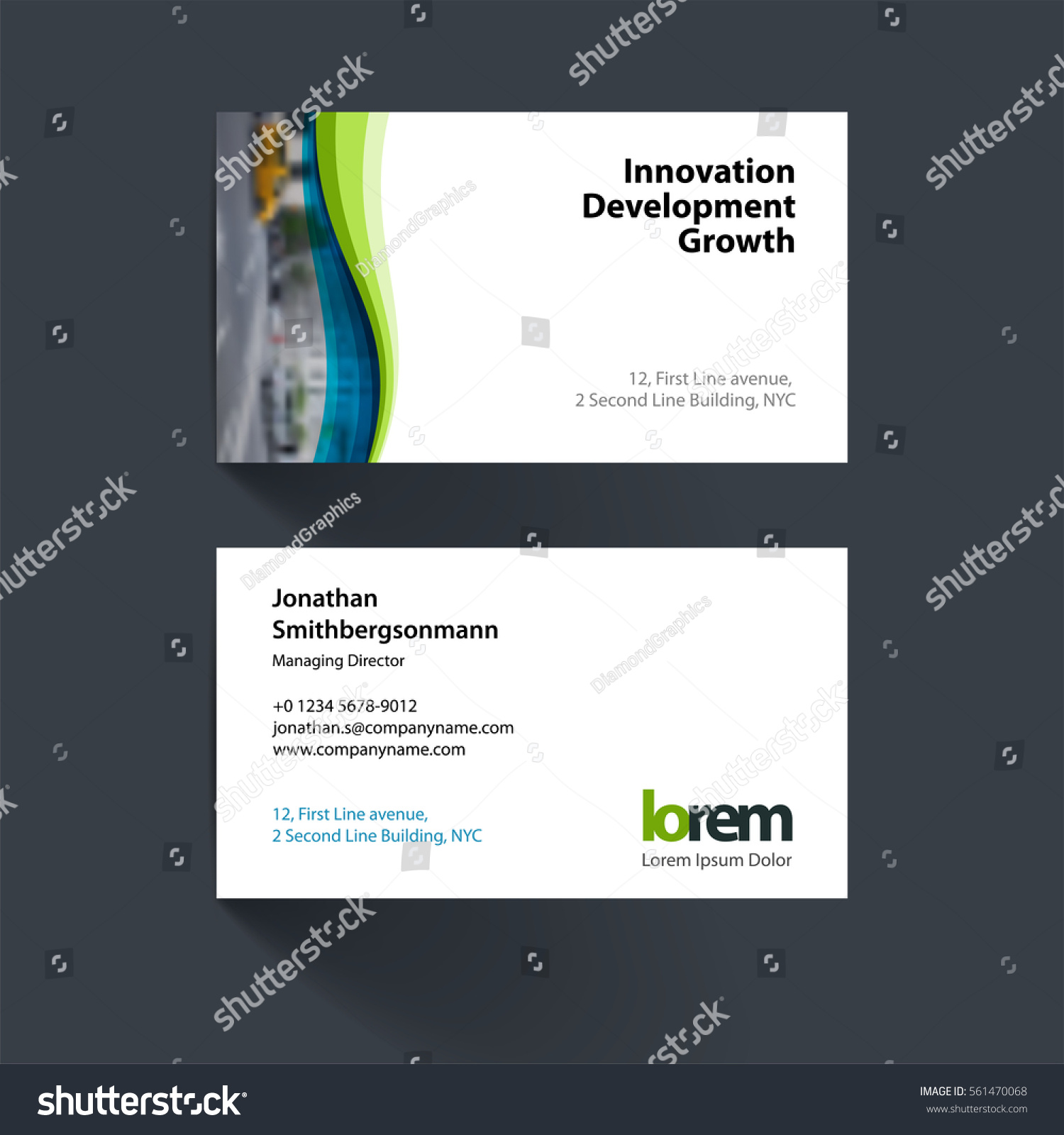 vector business card template soft waves stock vector