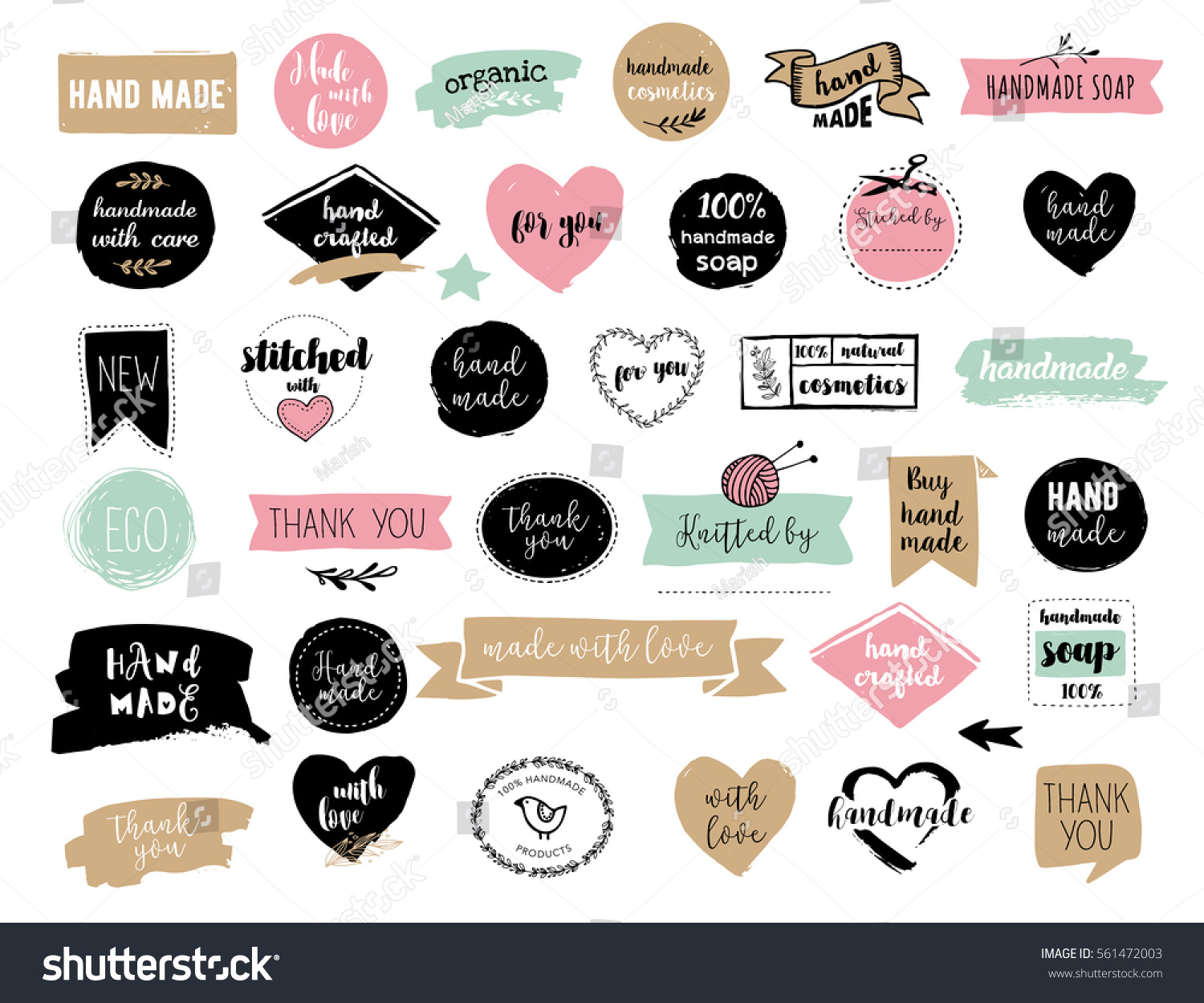 Hand drawn vector handmade craft knitting stock vector for Custom tags for crafts