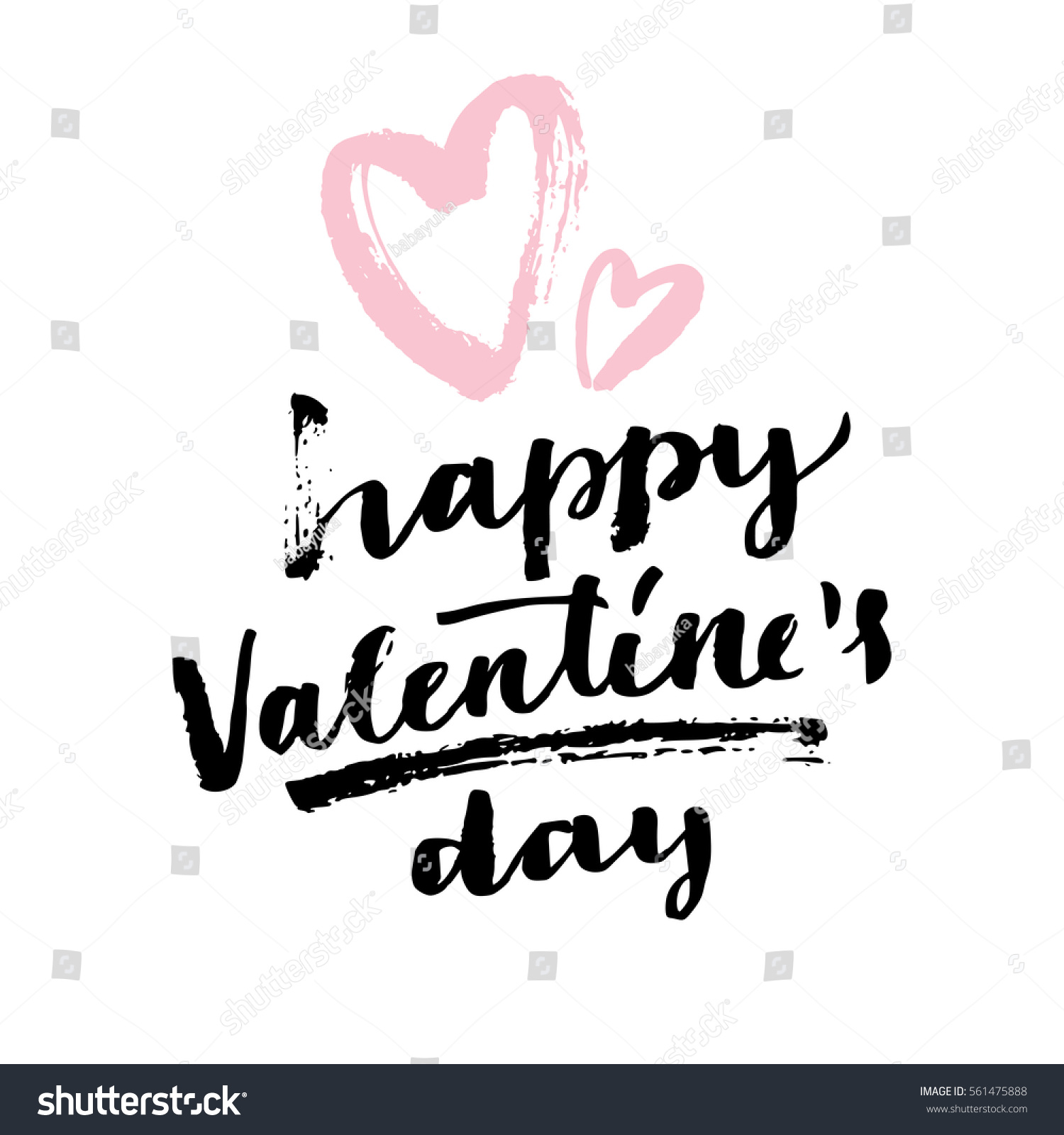 Happy Valentines Day Modern Calligraphy Hand Stock Vector Royalty