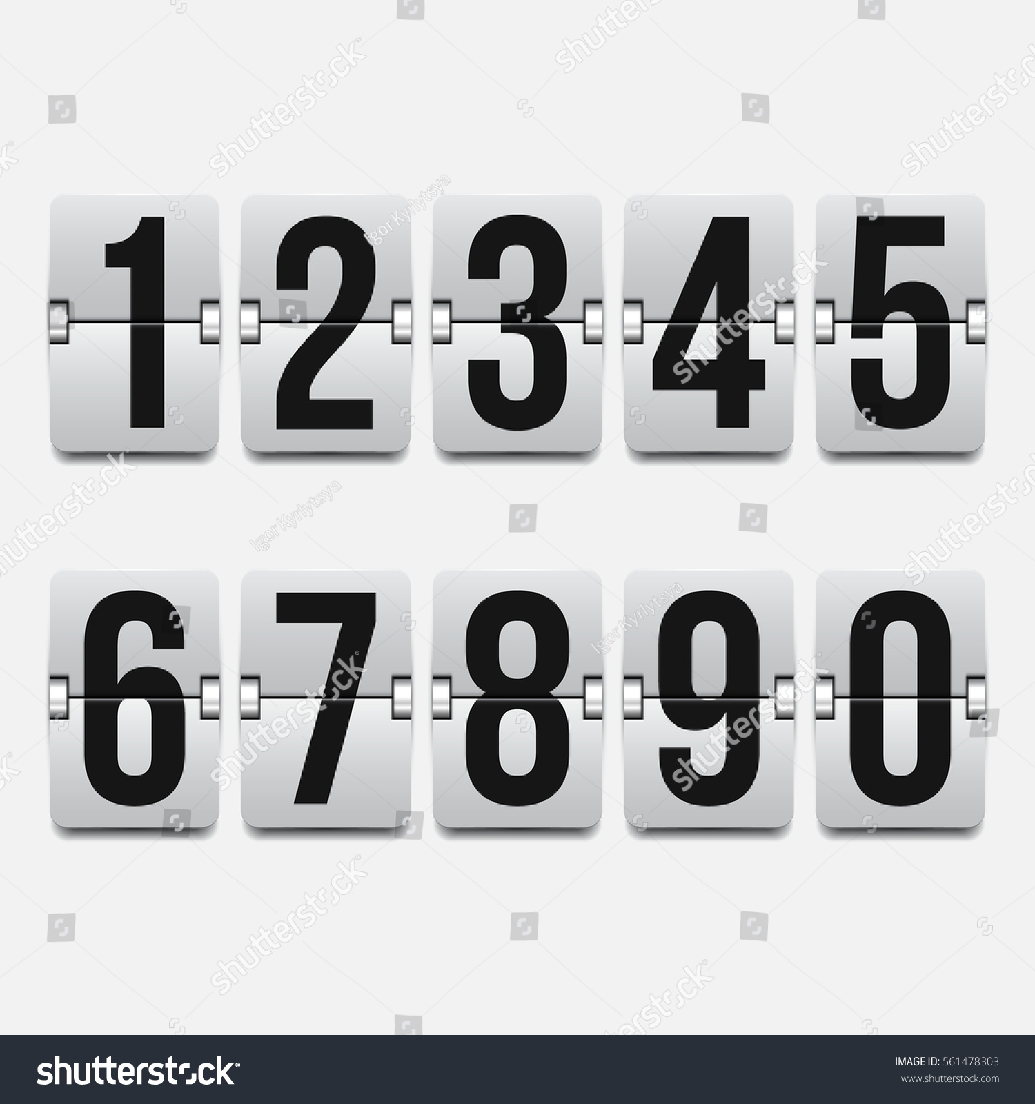 Set Numbers On Mechanical Scoreboard Vector Stock Vector 561478303 ...