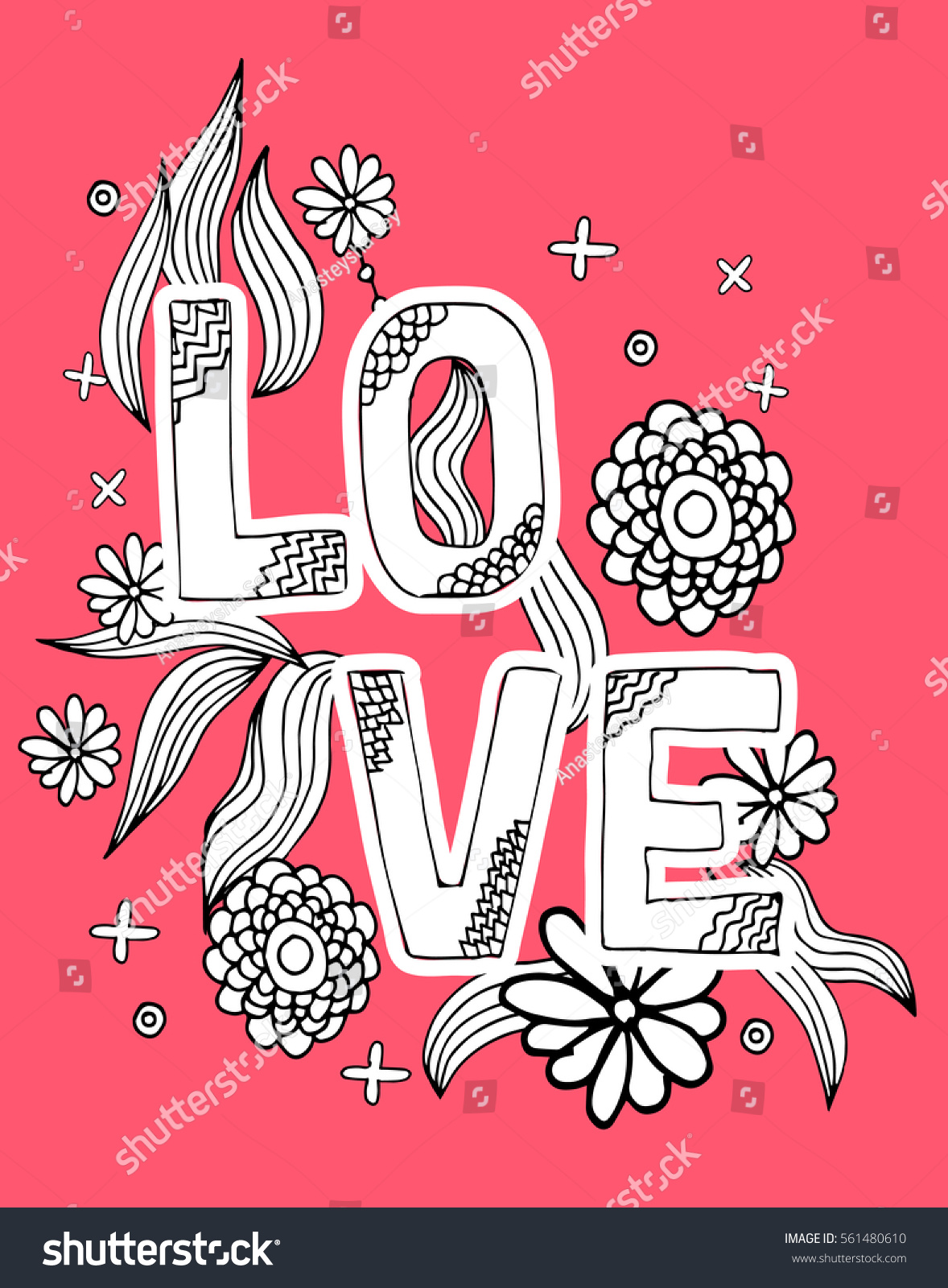 Coloring Page Word Love Flowers Ornament Stock Vector 561480610 ...