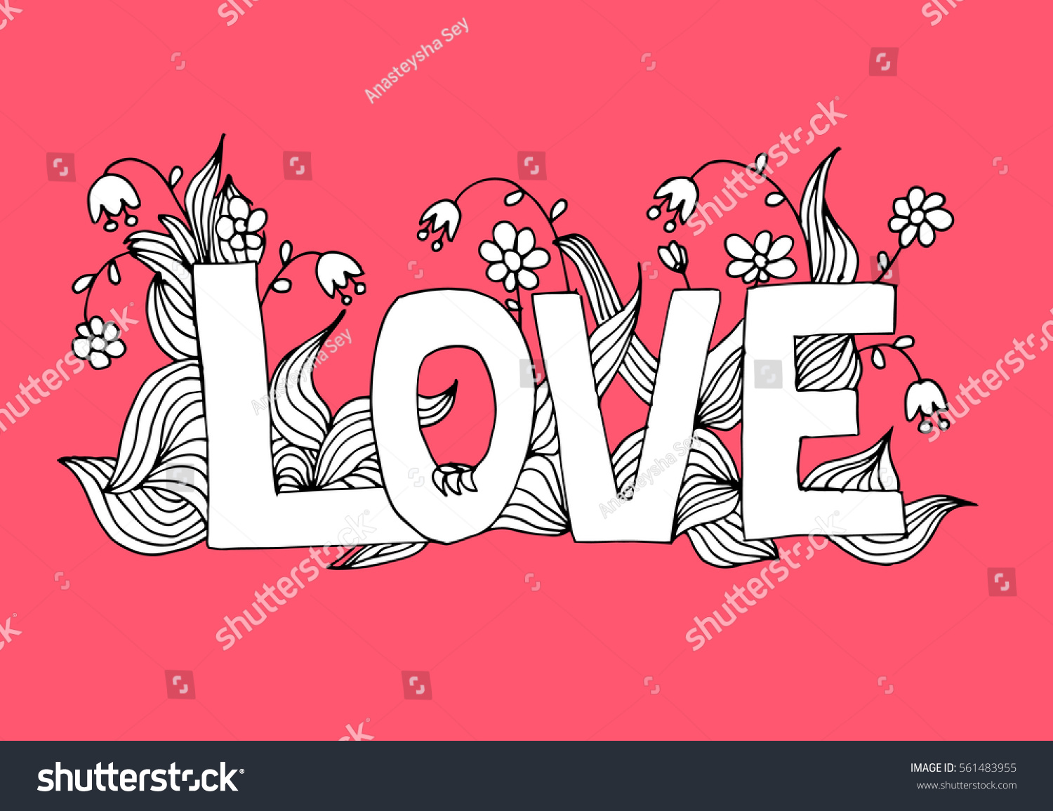 Coloring Page Word Love Flowers Ornament Stock Vector (2018 ...