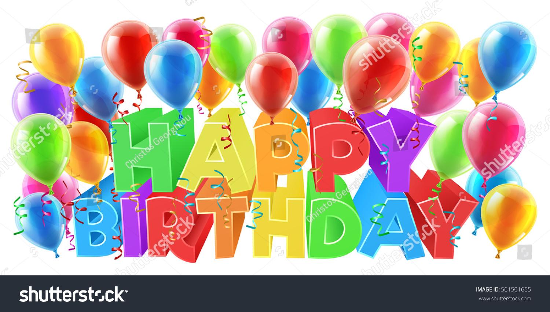 balloons happy birthday bright color word stock vector royalty free