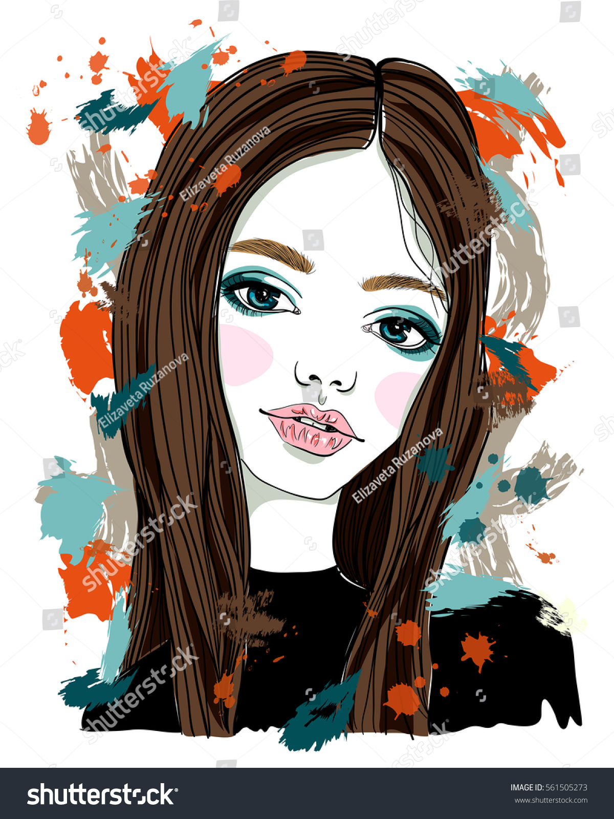 Beautiful Girl Brown Hair Blue Eyes Stock Vector Royalty Free ...