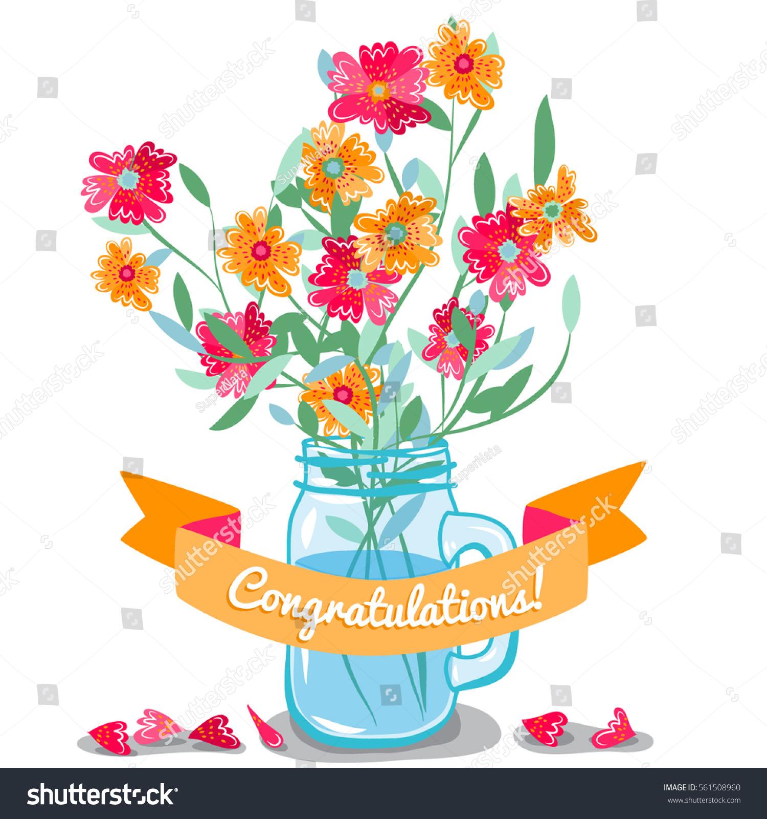 Bouquet Flowers Jar Congratulations Card Cosmos Stock Vector ...