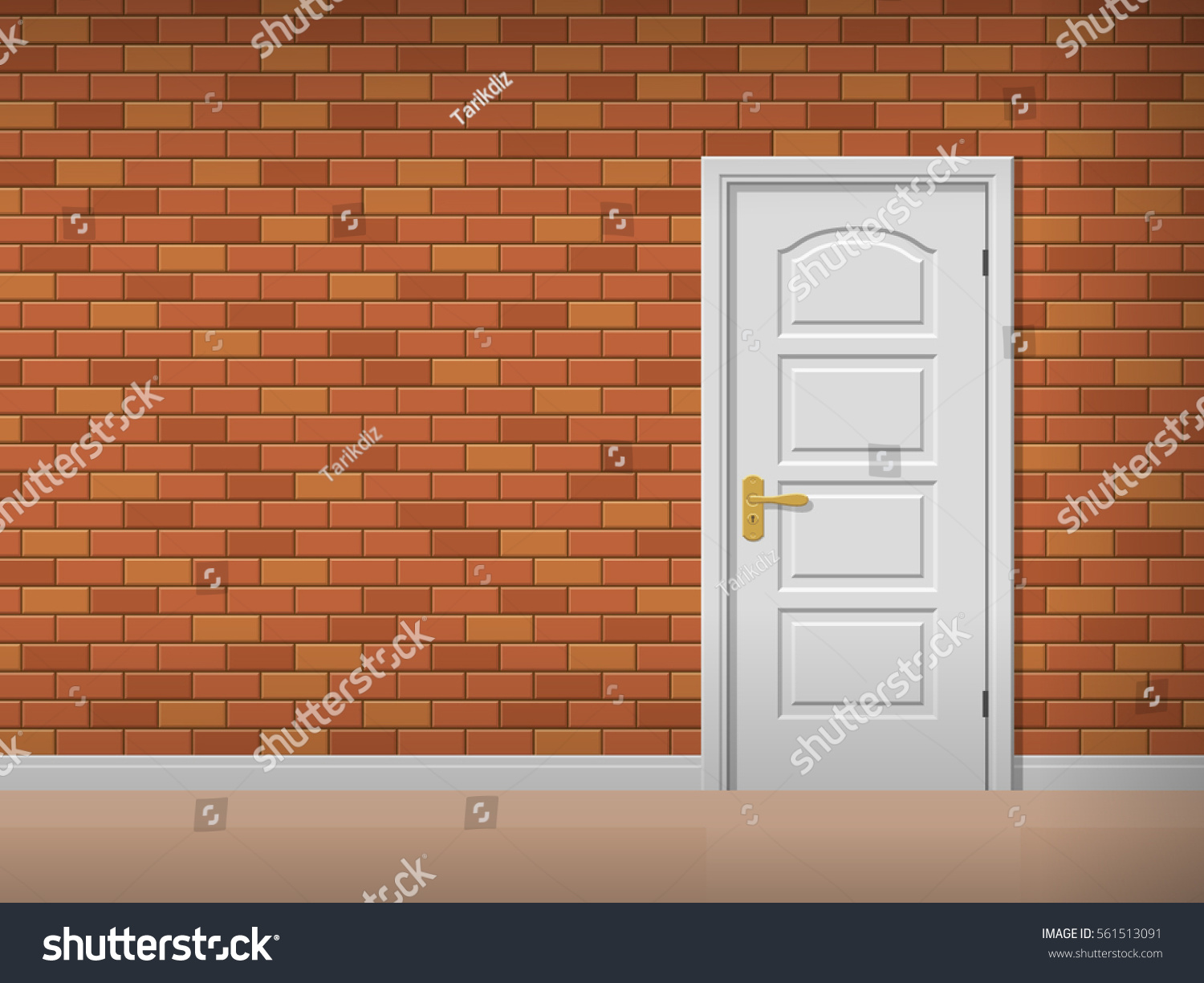 Room Interior With Brick Wall And White Door