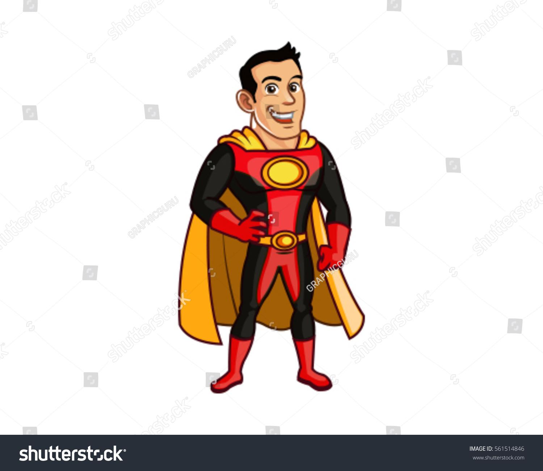 Handsome Superhero Cartoon Mascot Posing Stock Vector Royalty Free