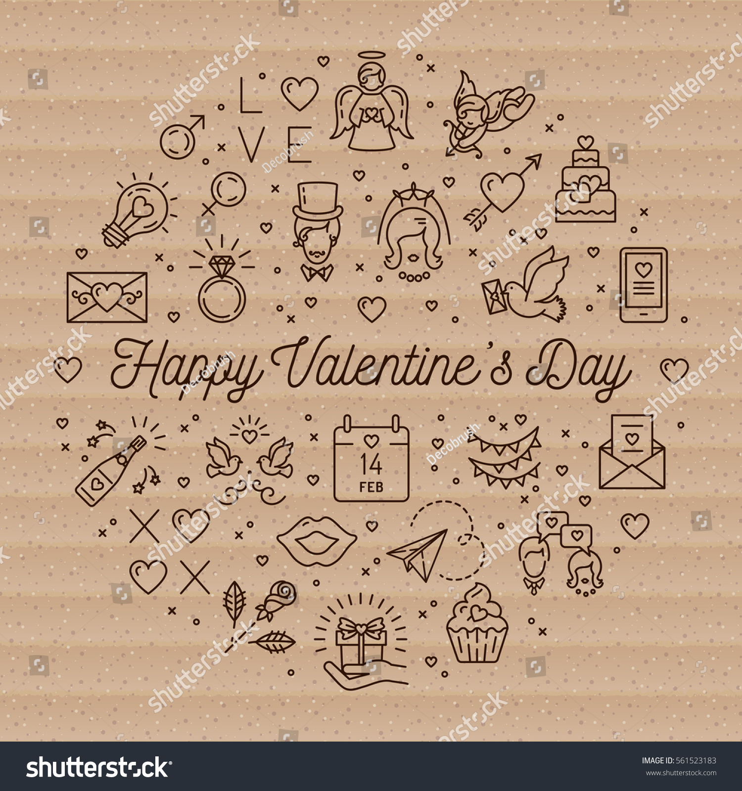 Retro valentine icons line thin style stock vector 561523183 retro valentine icons line thin style valentines day signs and love symbols circle infographics biocorpaavc