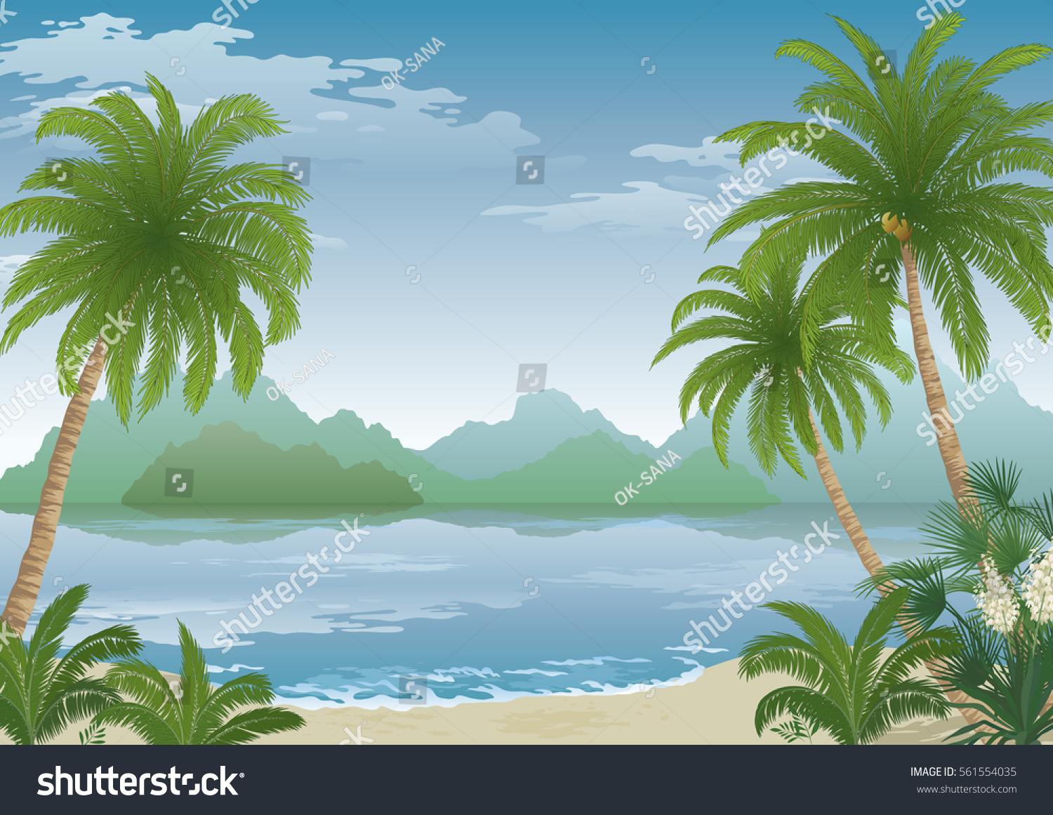Tropical Landscape Palm Tree On Ocean Beach Yucca Flowers Mountains And Clouds