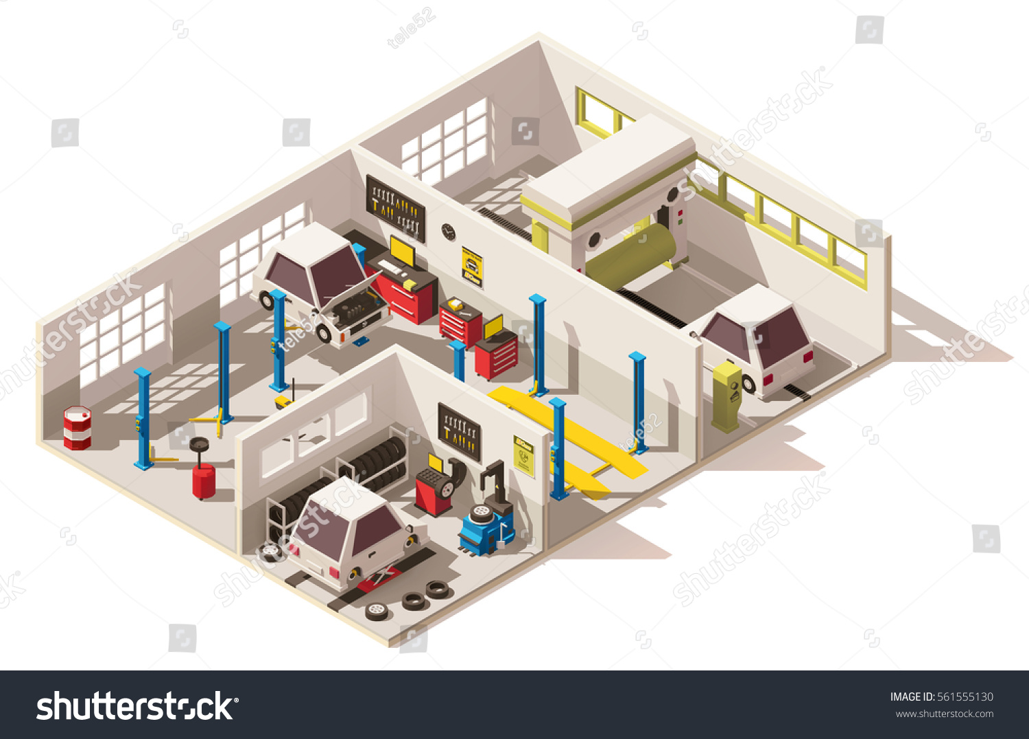 Vector Isometric Low Poly Car Service Stock Vector ...