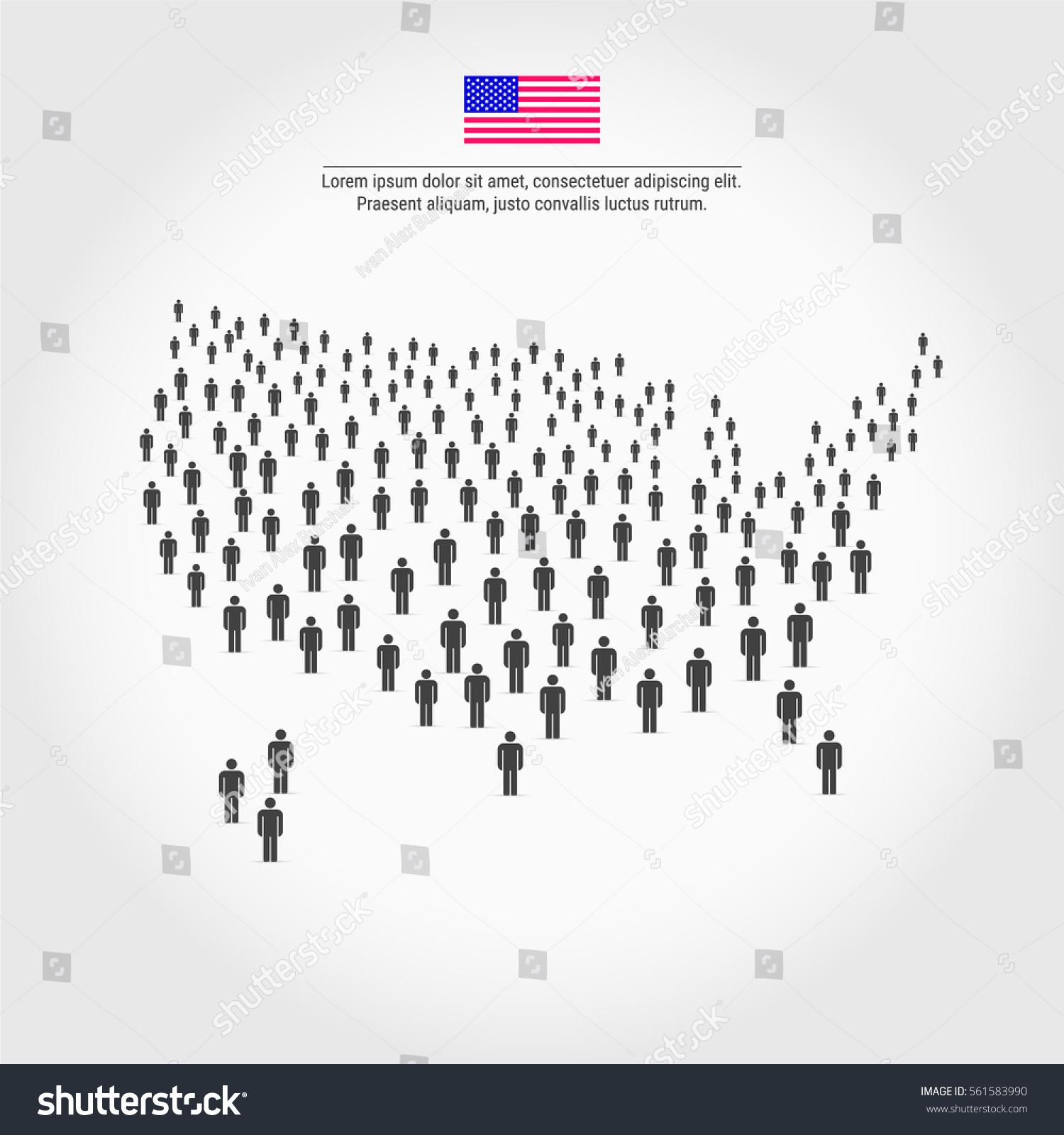 Large Group People Shape America Usa Stock Vector - Usa map shape