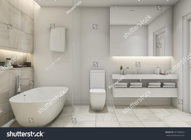3 D Rendering White Tile Marble Luxury Stock Illustration 561588523 ...