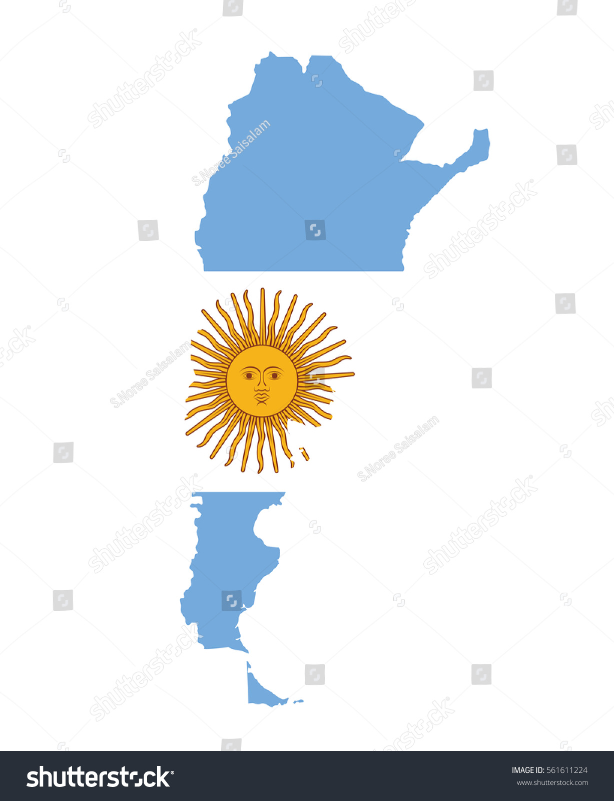 Argentina Map Flag Vector Stock Vector Shutterstock - Argentina map vector free