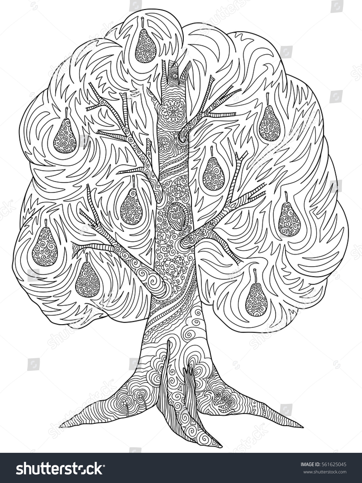 doodle coloring book tree pear stock vector 561625045