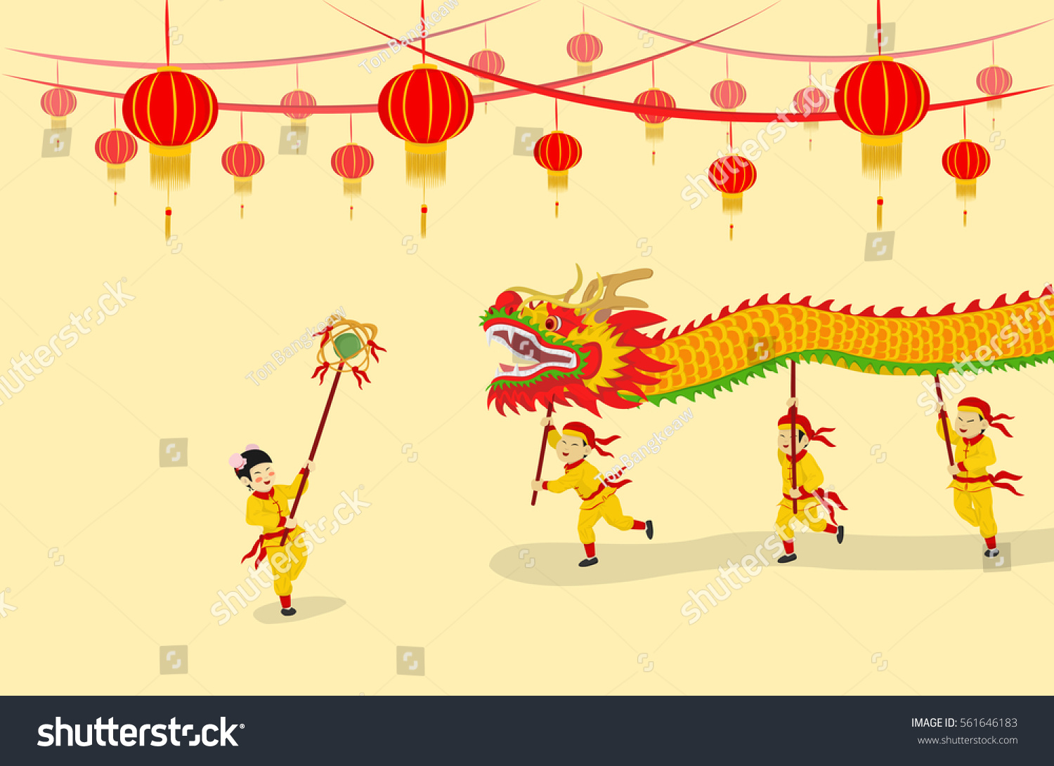 vector illustration festival chinese new year dragon dancing show and decorated with chinese lanterns
