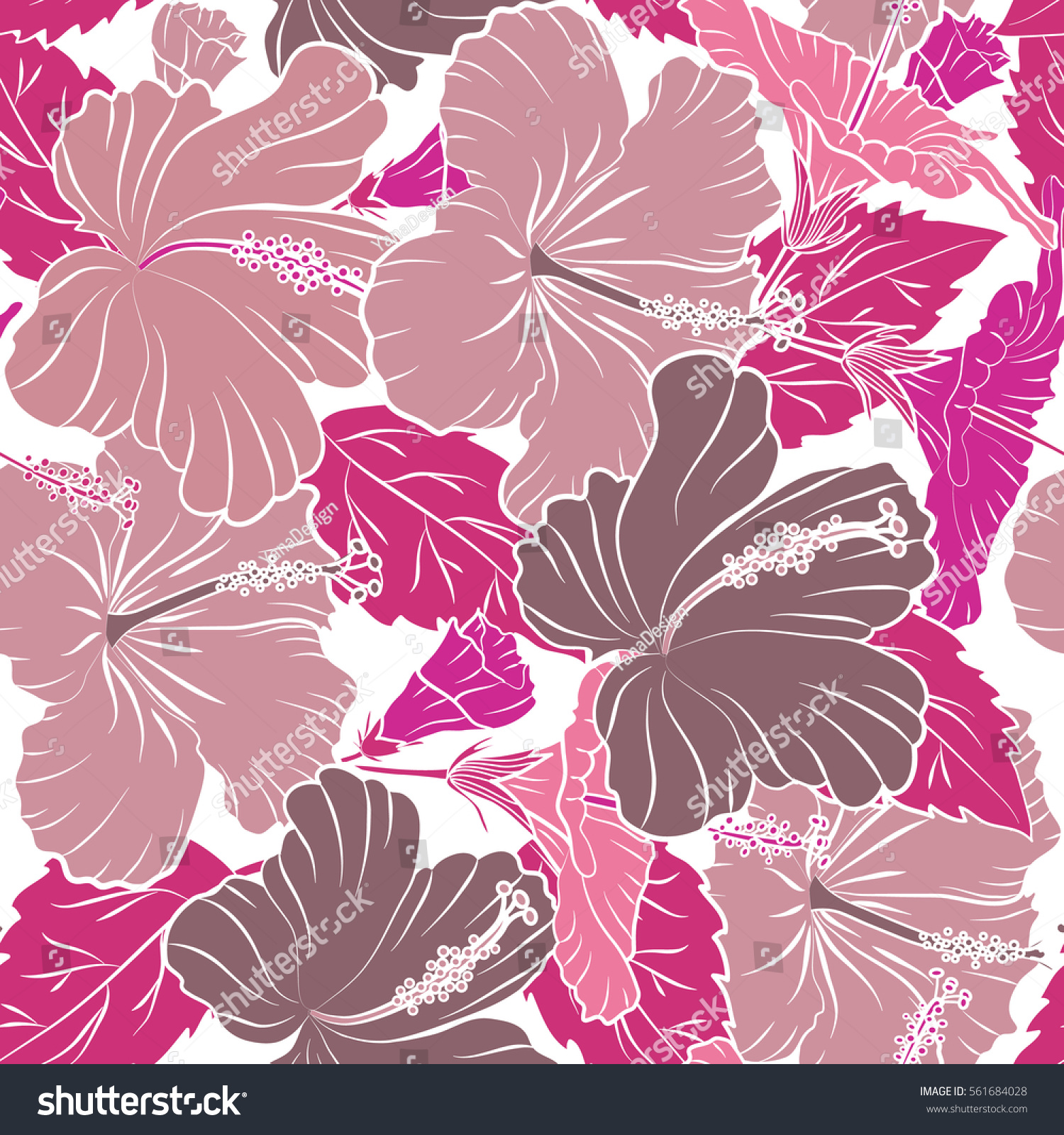 Floral Seamless Pattern With Hibiscus Flowers Design In Magenta And
