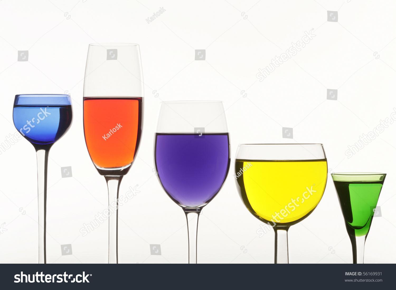 Five Multi Coloured Wine Glasses On White Background Stock