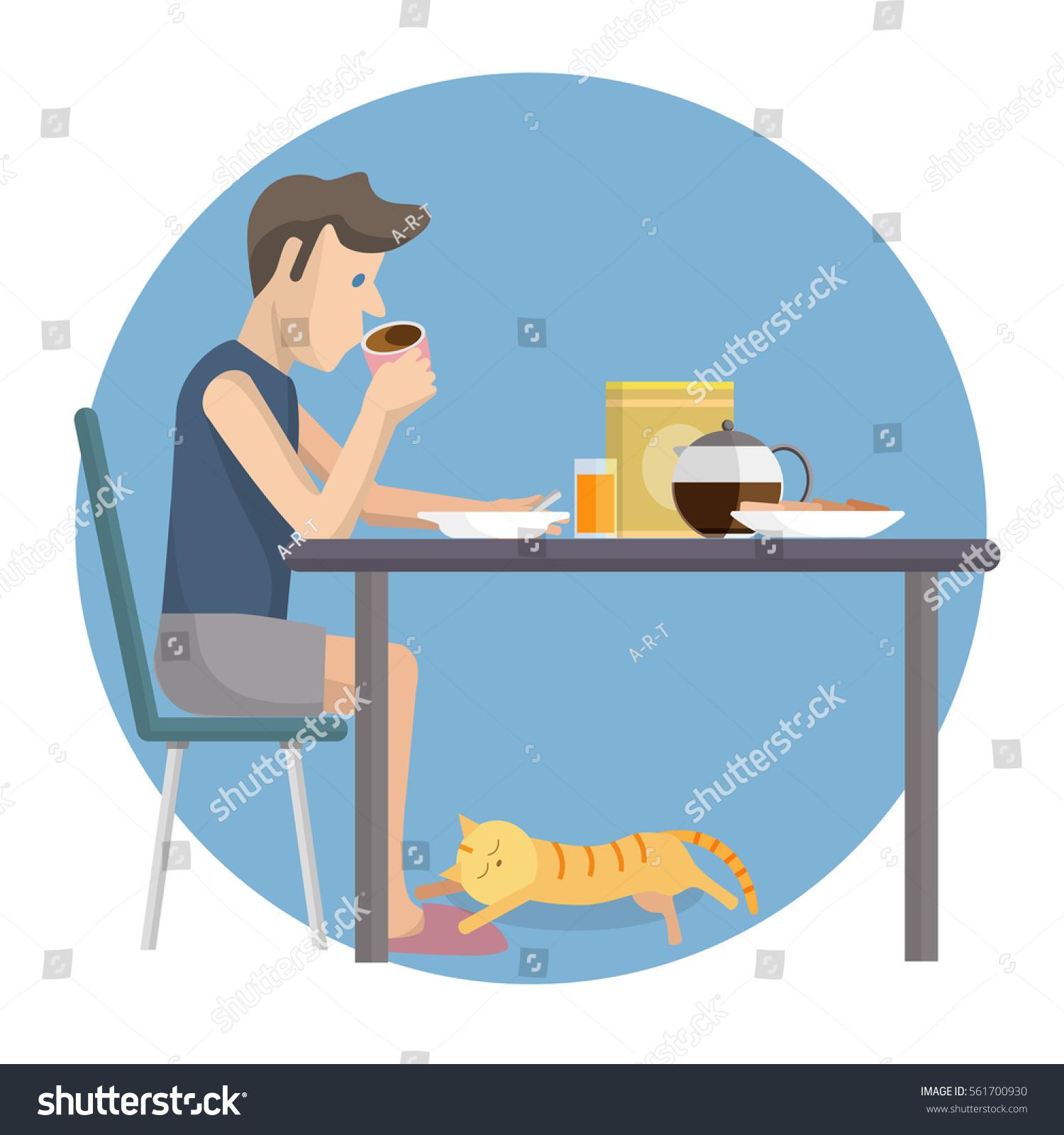 Vector Flat Design Illustration Man Eating Stock