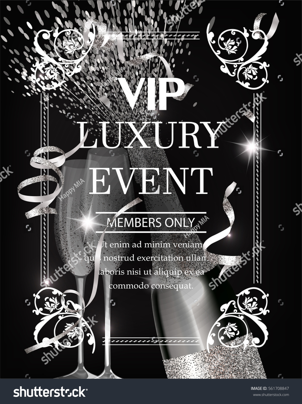 Luxury event invitation shiny banner silver stock vector 561708847 luxury event invitation shiny banner silver stock vector 561708847 shutterstock stopboris Image collections