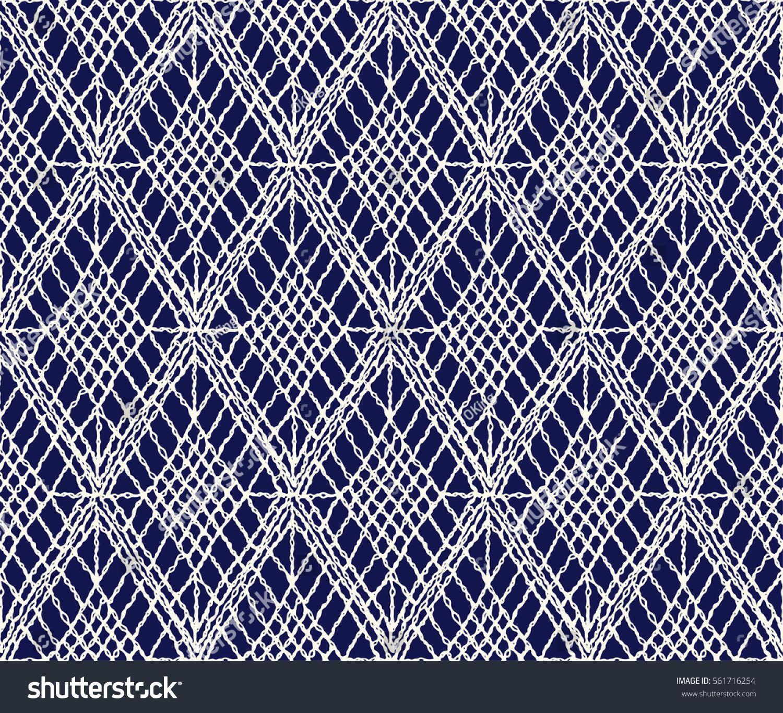 Diamond Grid Knitting Pattern : Crochet Seamless Pattern Knitted Woven Macrame Stock Vector 561716254 - Shutt...