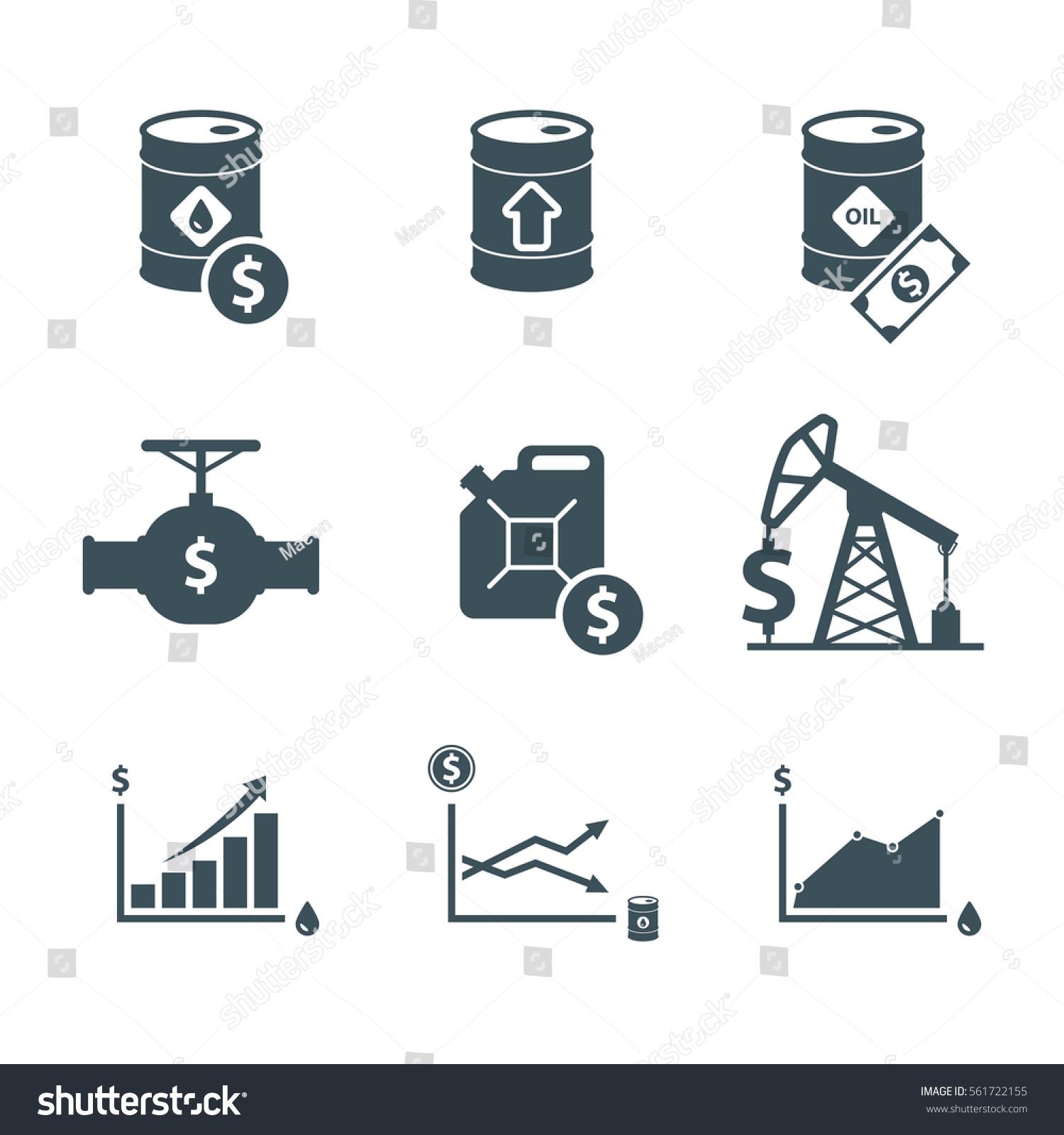 Oil Stock Quote: Oil Price Icon Set Crude Oil Stock Illustration 561722155
