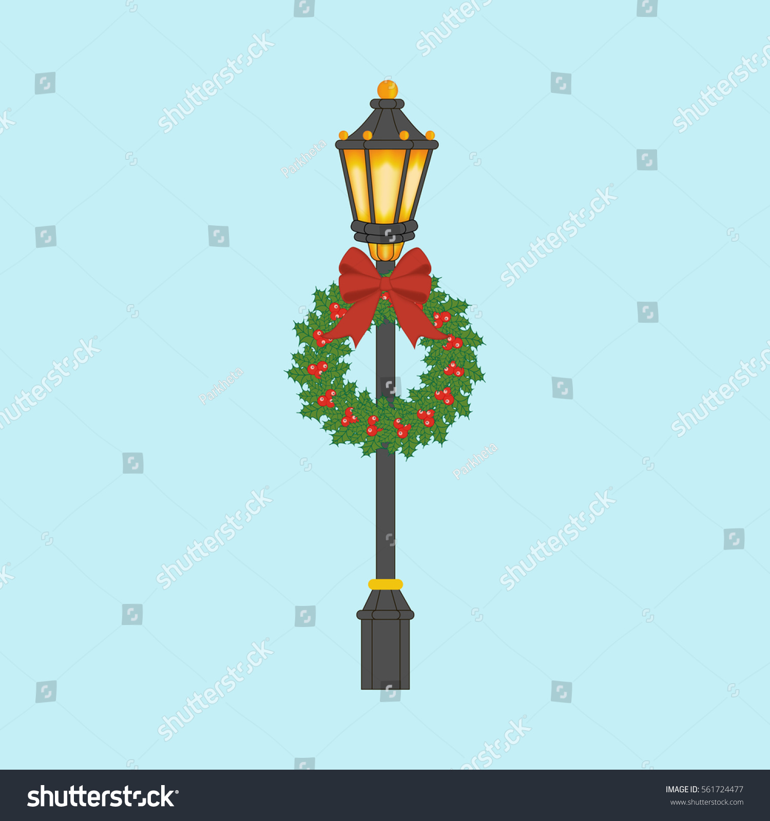 street light with christmas wreath street lantern with christmas decoration illustration