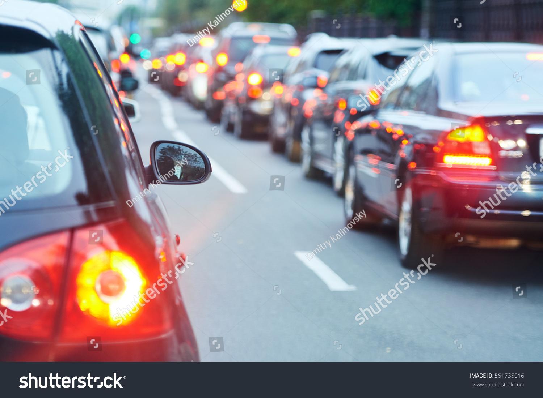 traffic jam in a city street road #561735016