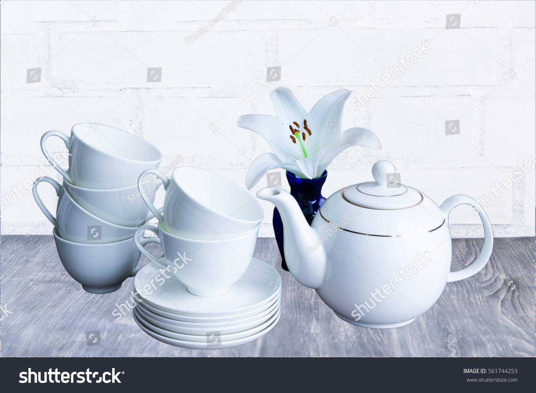 White Porcelain Tea Set Stacked Cups Stock Photo Royalty Free
