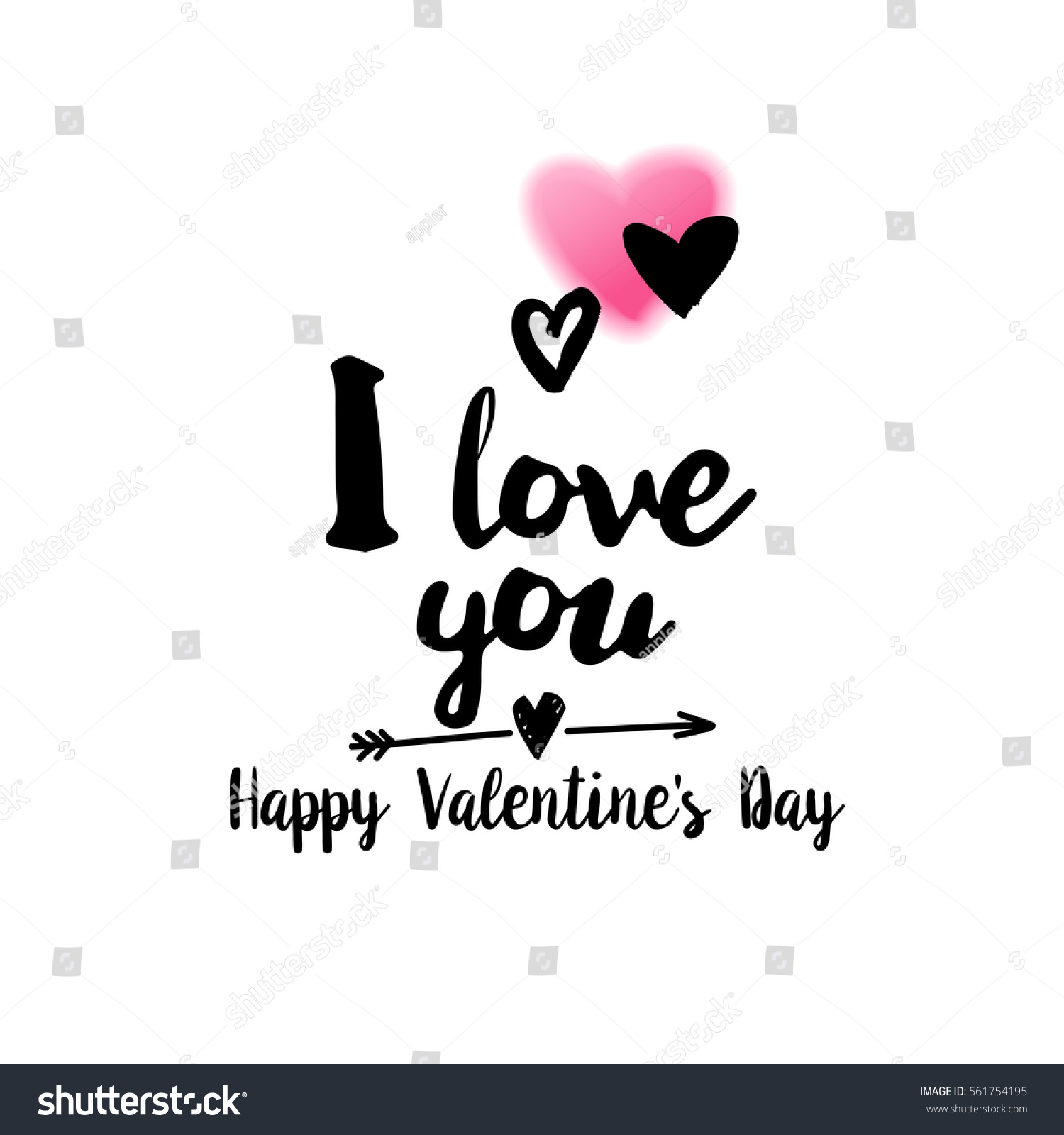 Love You Happy Valentines Day Typography Stock Vector Royalty Free