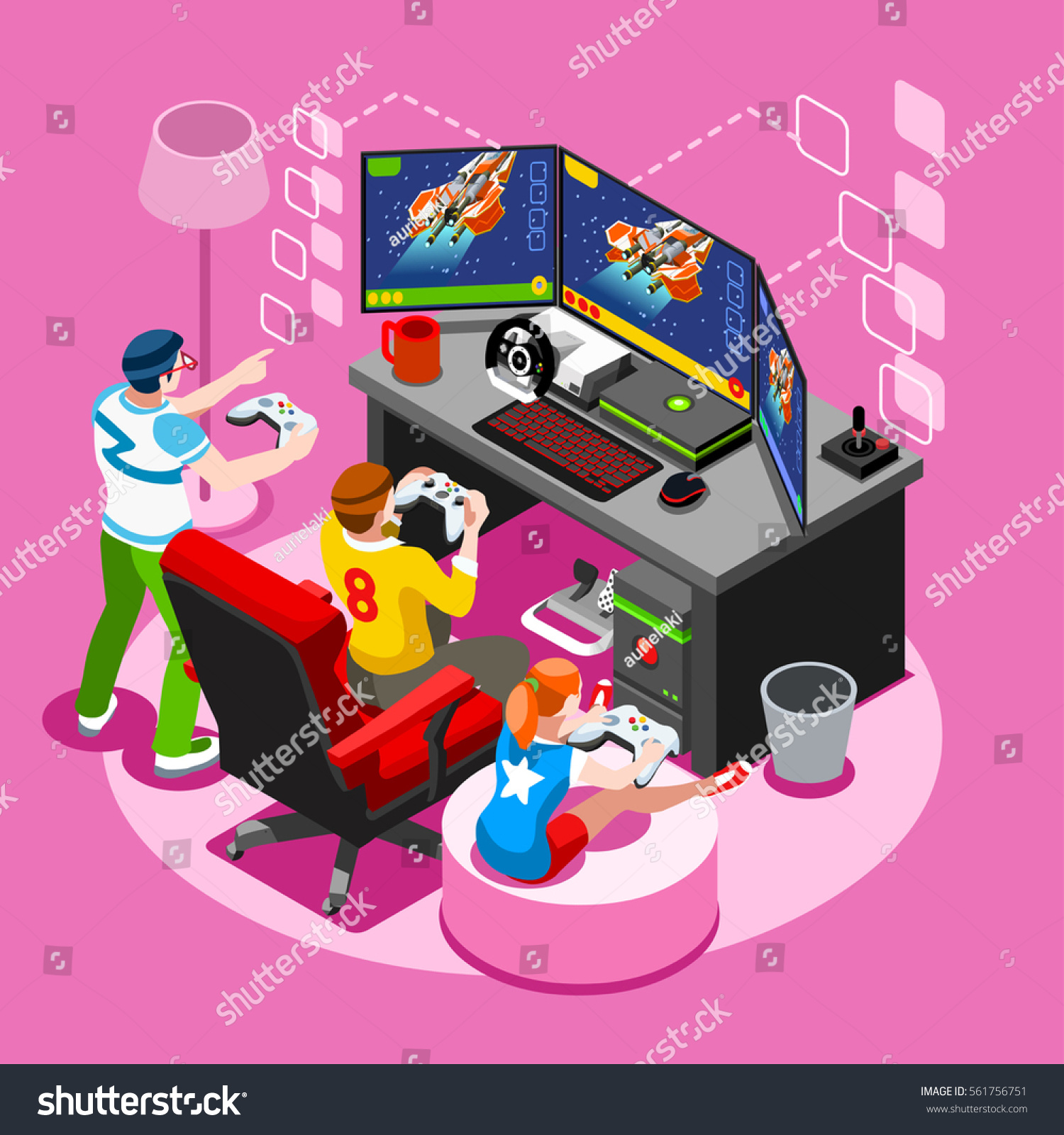 Video Game Pc Screen Nerd Girl Stock Vector (Royalty Free