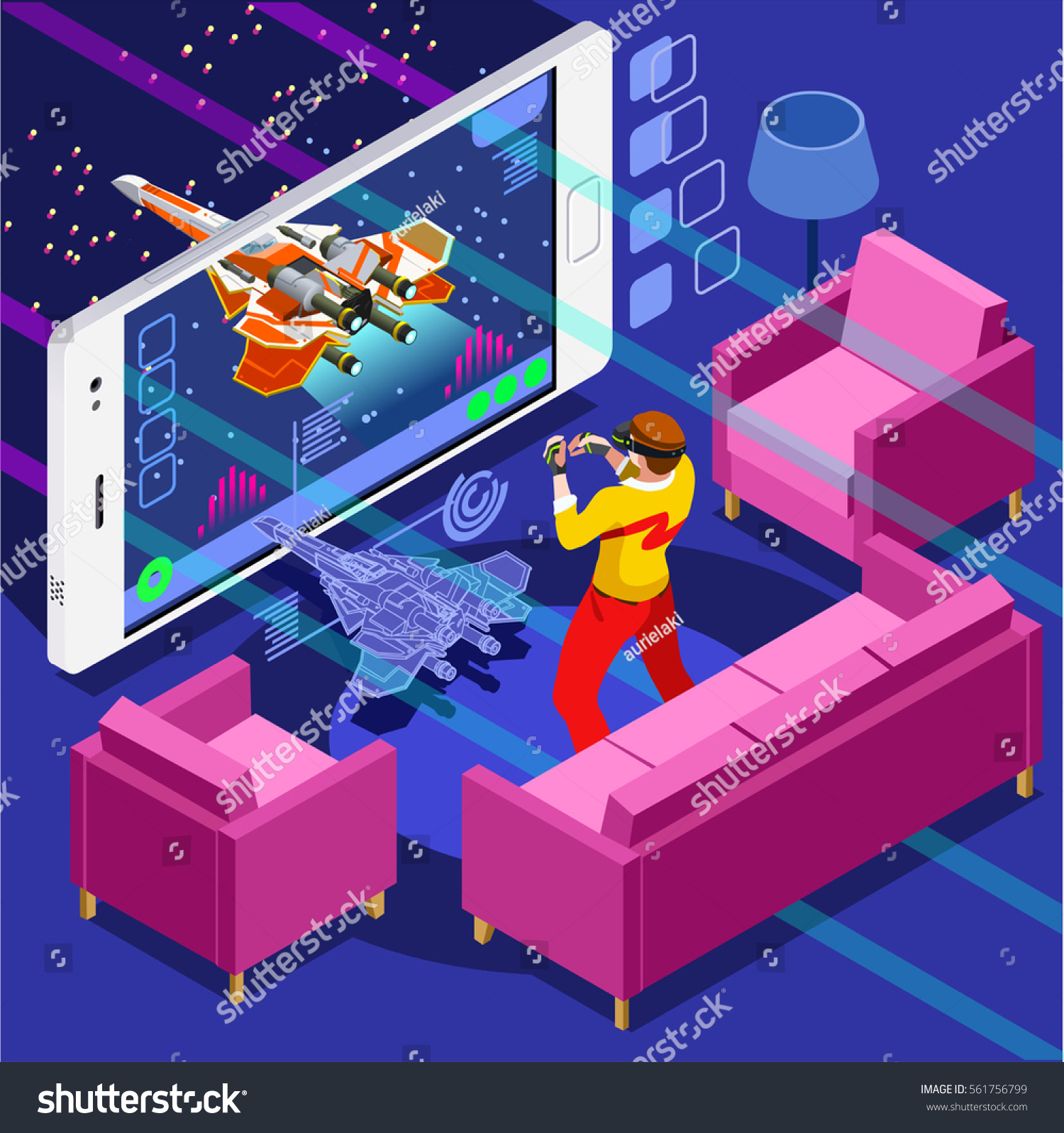 Video Game Screen Gamer Person Playing Stock Vector Royalty
