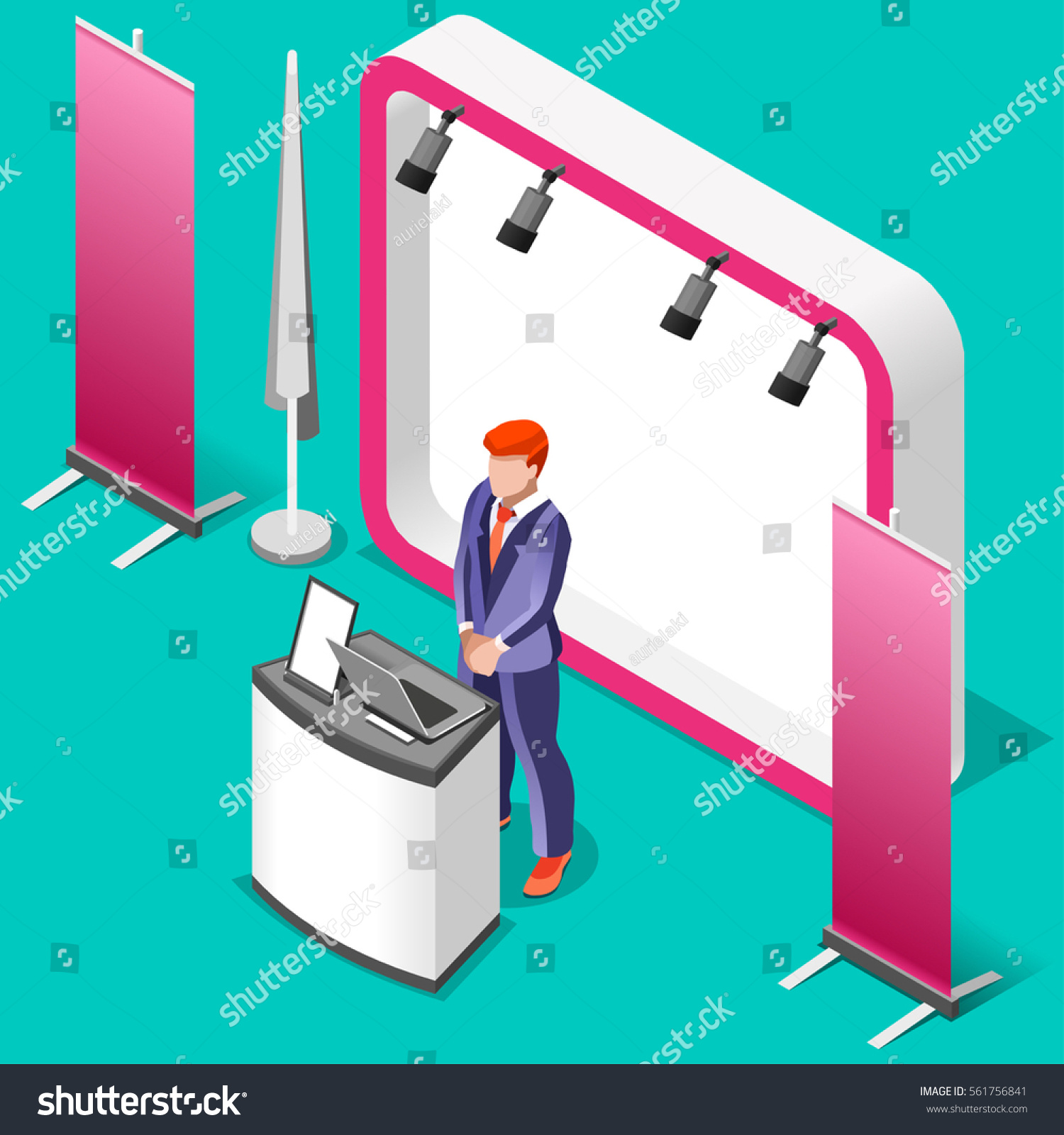 Simple Exhibition Stand Vector : Exhibition booth stand trade show man stock vector