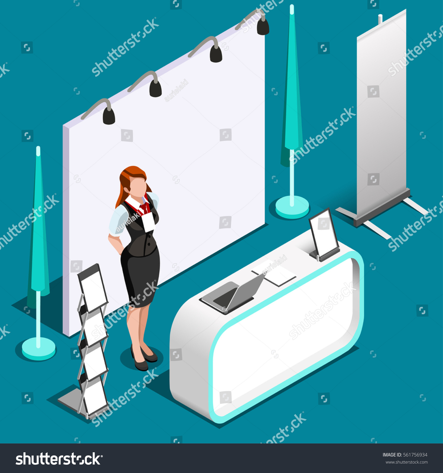 Exhibition Stall Design Vector Free Download : Isometric exhibition trade show booth stand stock vector
