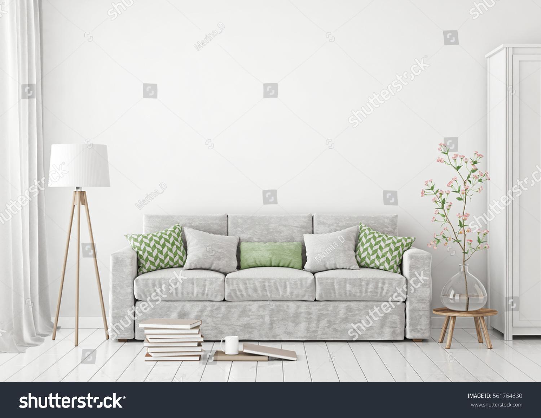 Livingroom Interior Sofa Pillows Lamp Books Stock Illustration ...