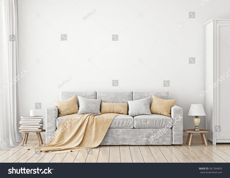 Livingroom Interior Sofa Pillows Plaid On Stock Illustration ...