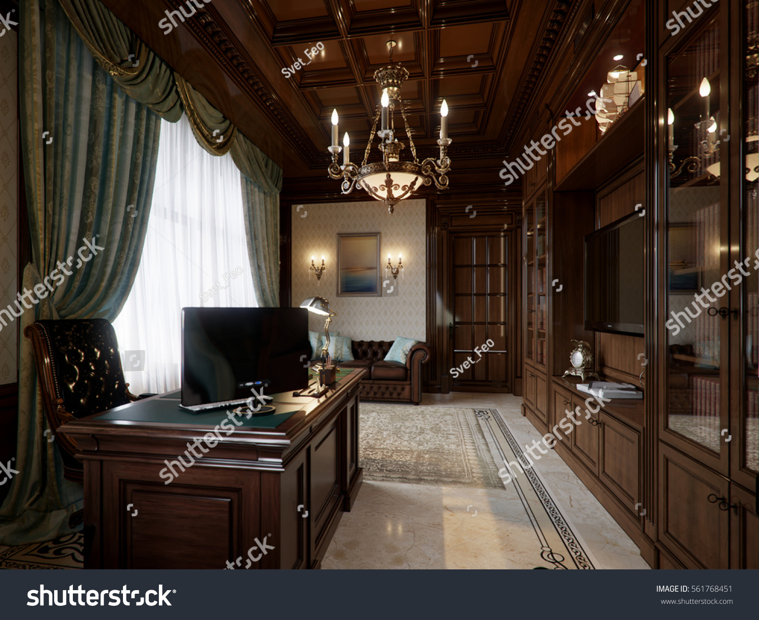 home office sofa. Spacious Dark Wood Home Office In Classical Style With Large Library And Sofa. 3d Render Sofa T