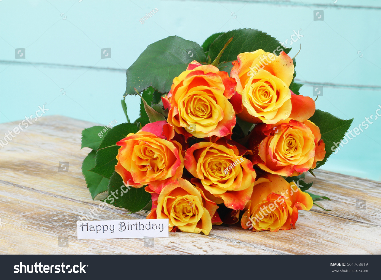 Happy Birthday Card Bouquet Roses Sprinkled Stock Photo (Royalty ...
