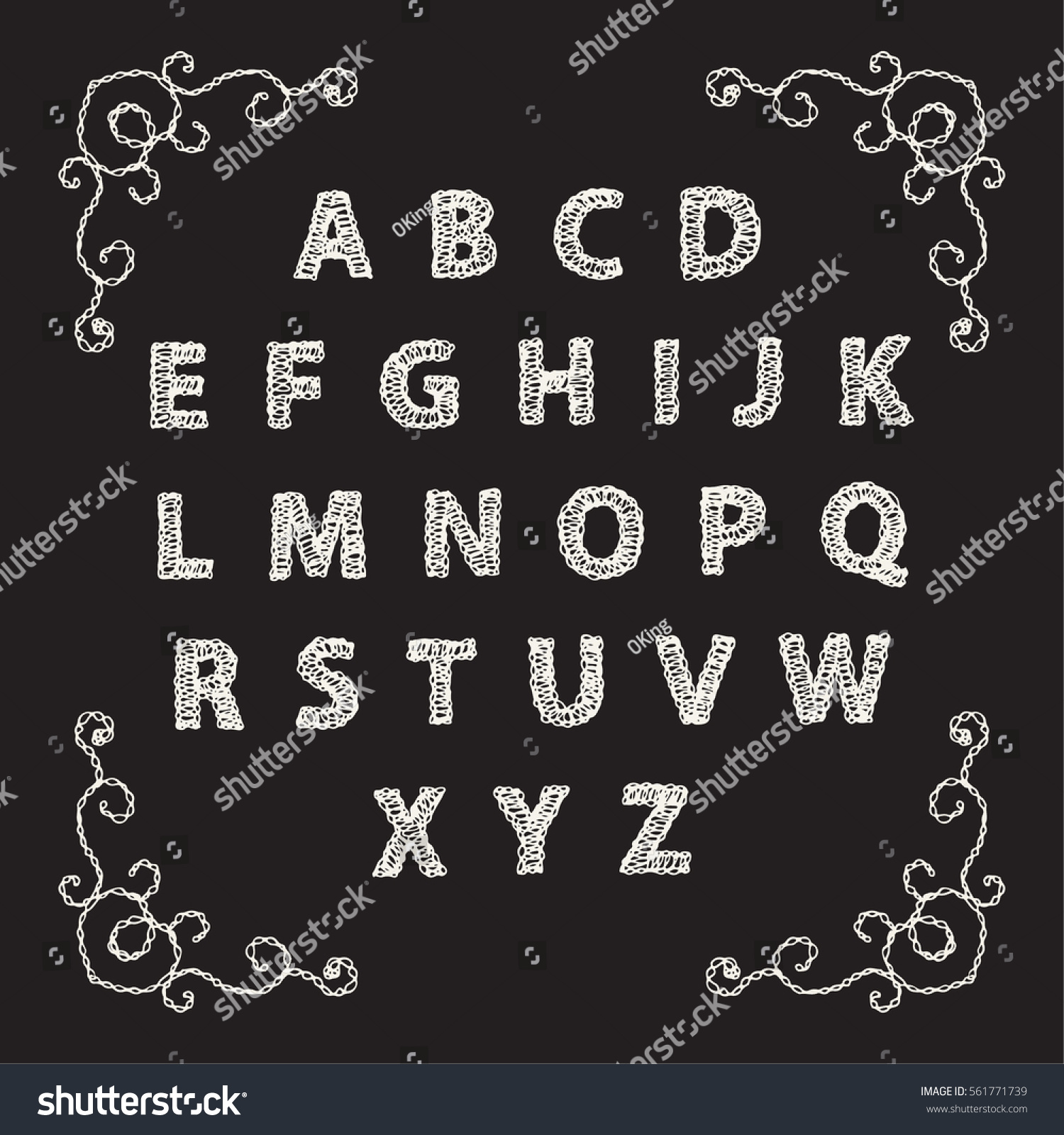 Embroidered Font Alphabet Letters Colorful Crocheted Stock Vector HD ...
