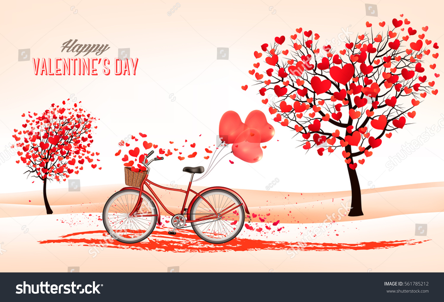 Valentines day background heart shaped trees stock vector