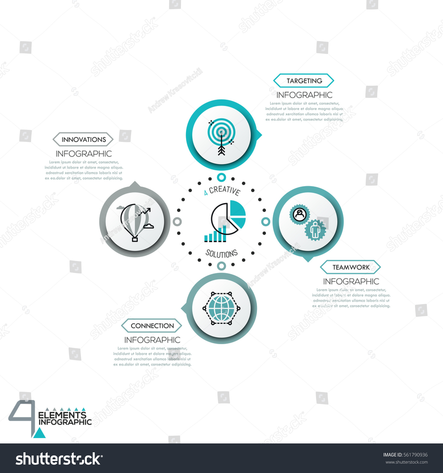 Circular diagram 4 round elements connected stock vector 561790936 circular diagram with 4 round elements connected by dotted line and text boxes modern infographic geenschuldenfo Gallery