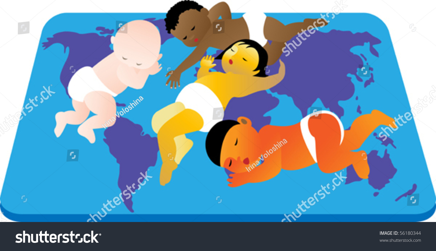 children with different skin color peacefully sleeping on the carpet the world map