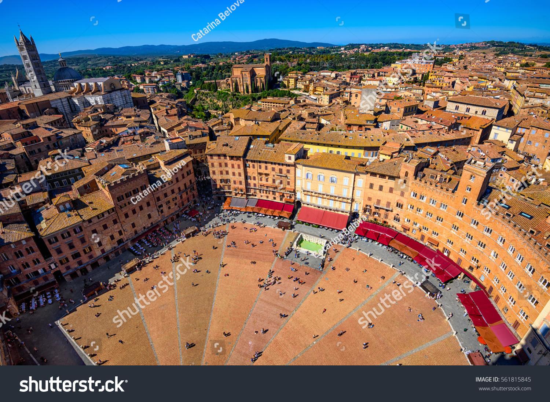 Aerial View Siena Campo Square Piazza Stockfoto (Lizenzfrei ...