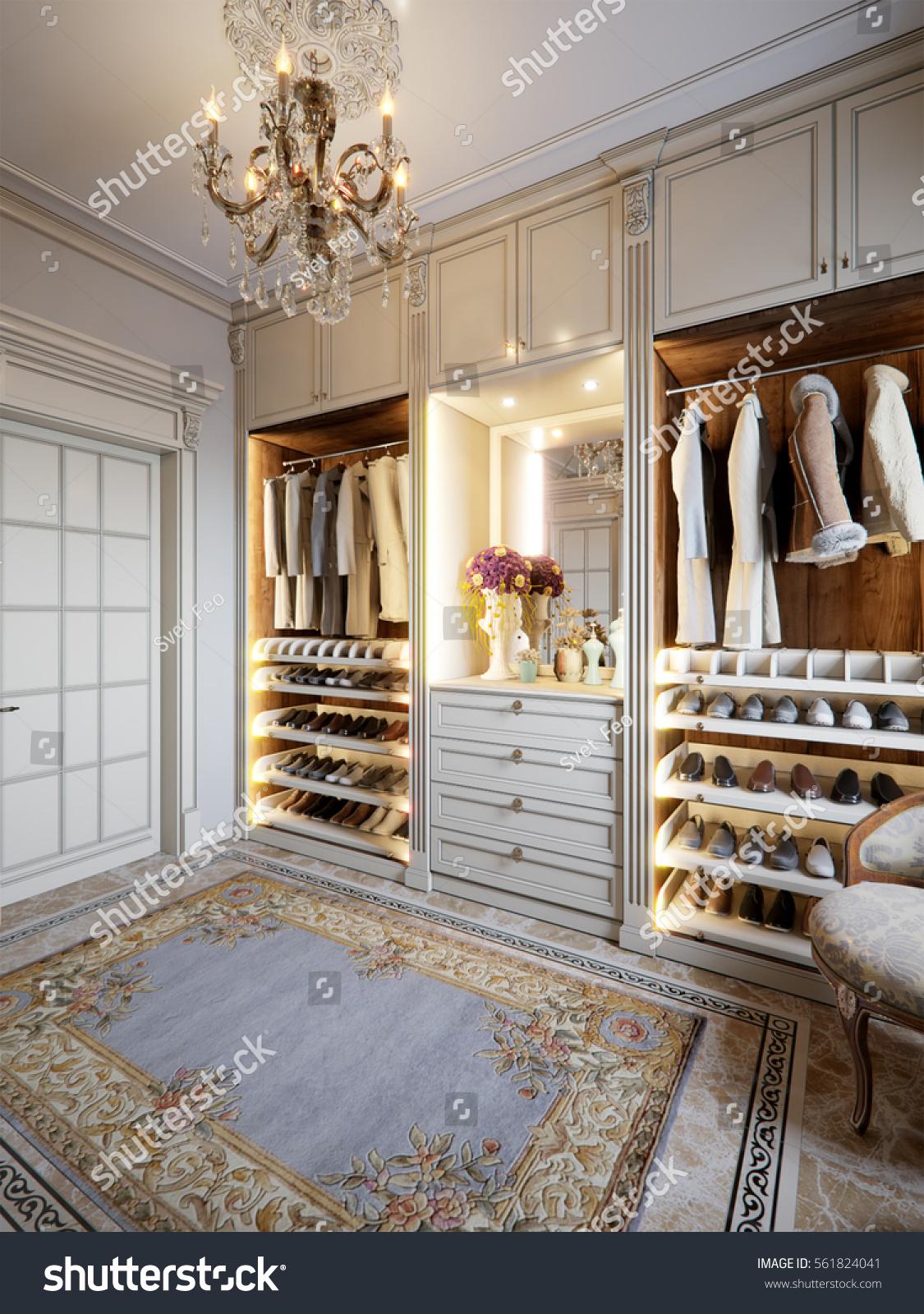 Luxurious Walkin Closet Wardrobe Room Large Stock