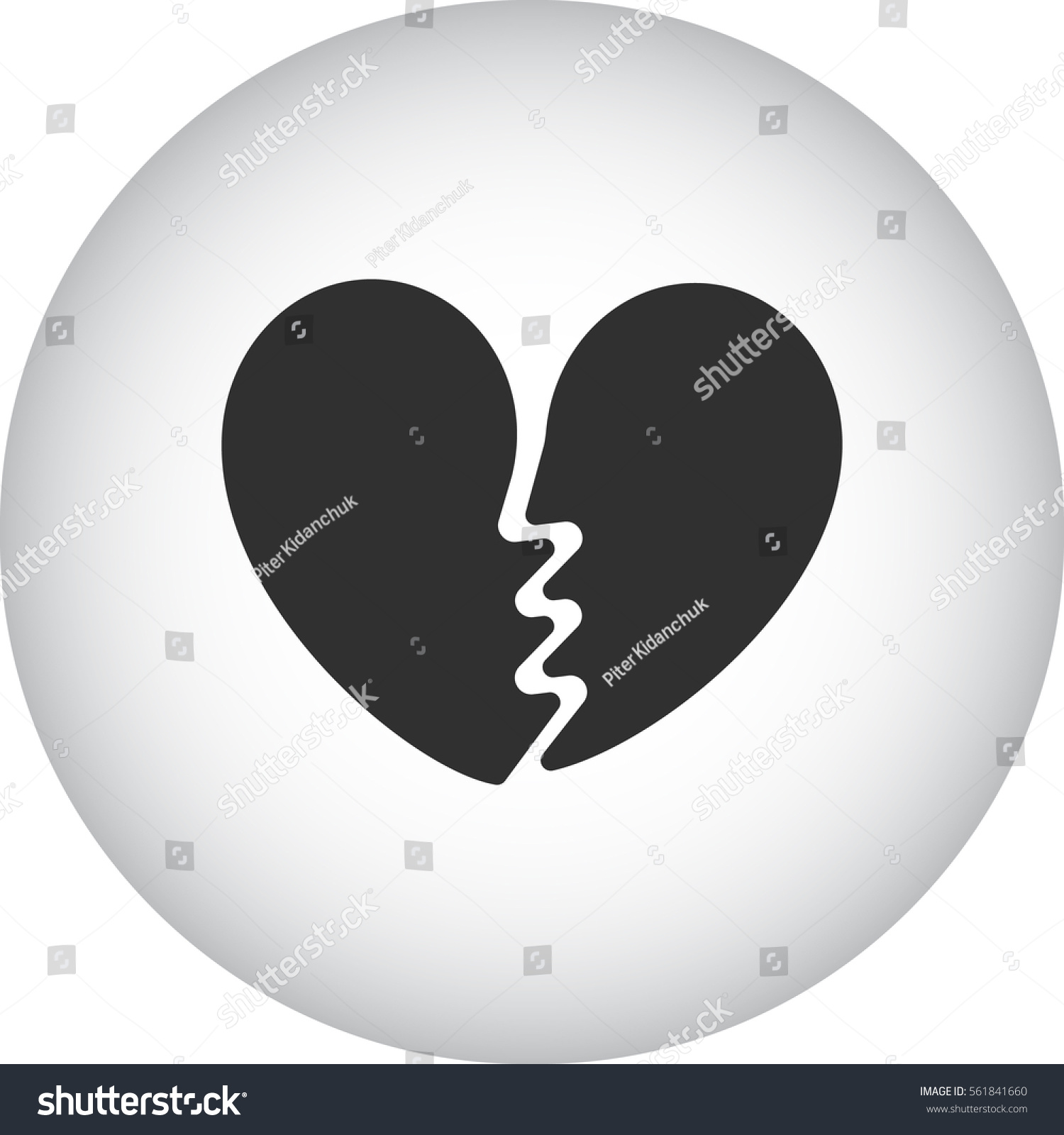 Broken Heart Symbol Sign Silhouette Icon Stock Vector Royalty Free