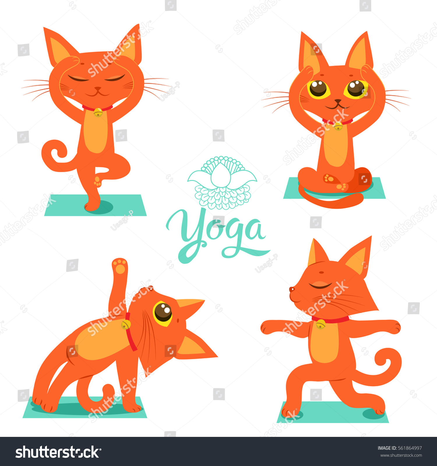 Set Cartoon Funny Cats Icons Doing Stock Vector Royalty Free 561864997
