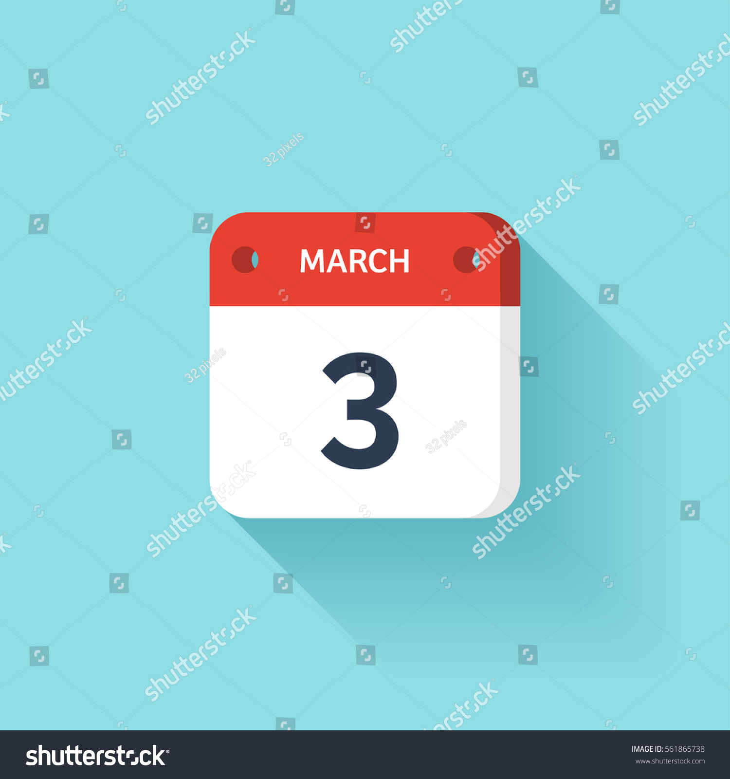 Calendar Illustration Vector : March isometric calendar icon shadowvector stock vector