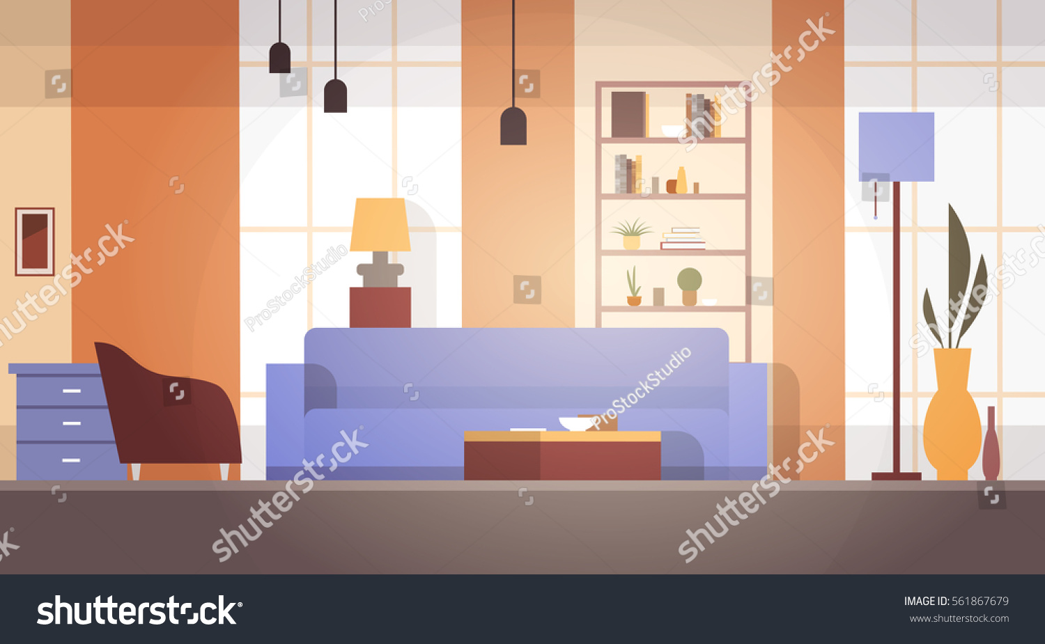 Living room interior home modern apartment 561867679 for Apartment design vector